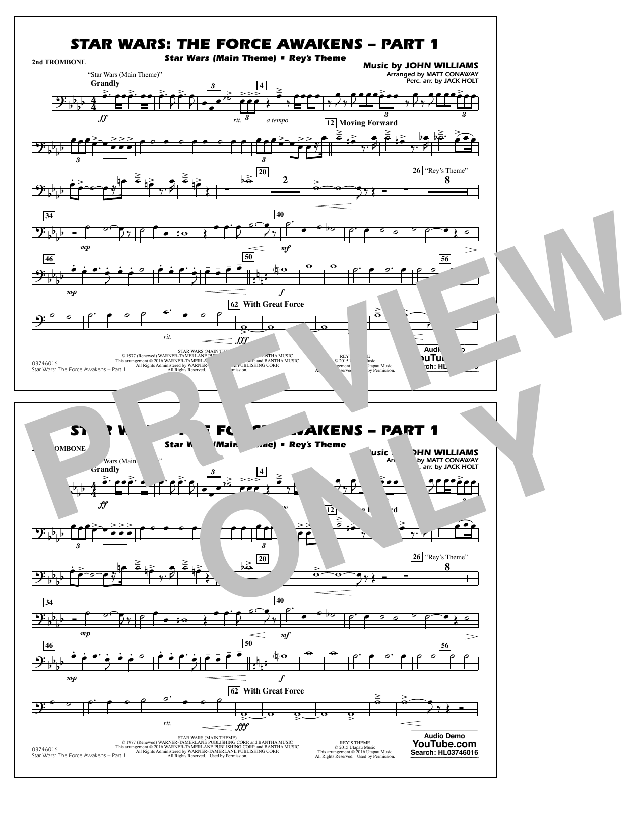 Star Wars: The Force Awakens - Part 1 - 2nd Trombone (Marching Band)
