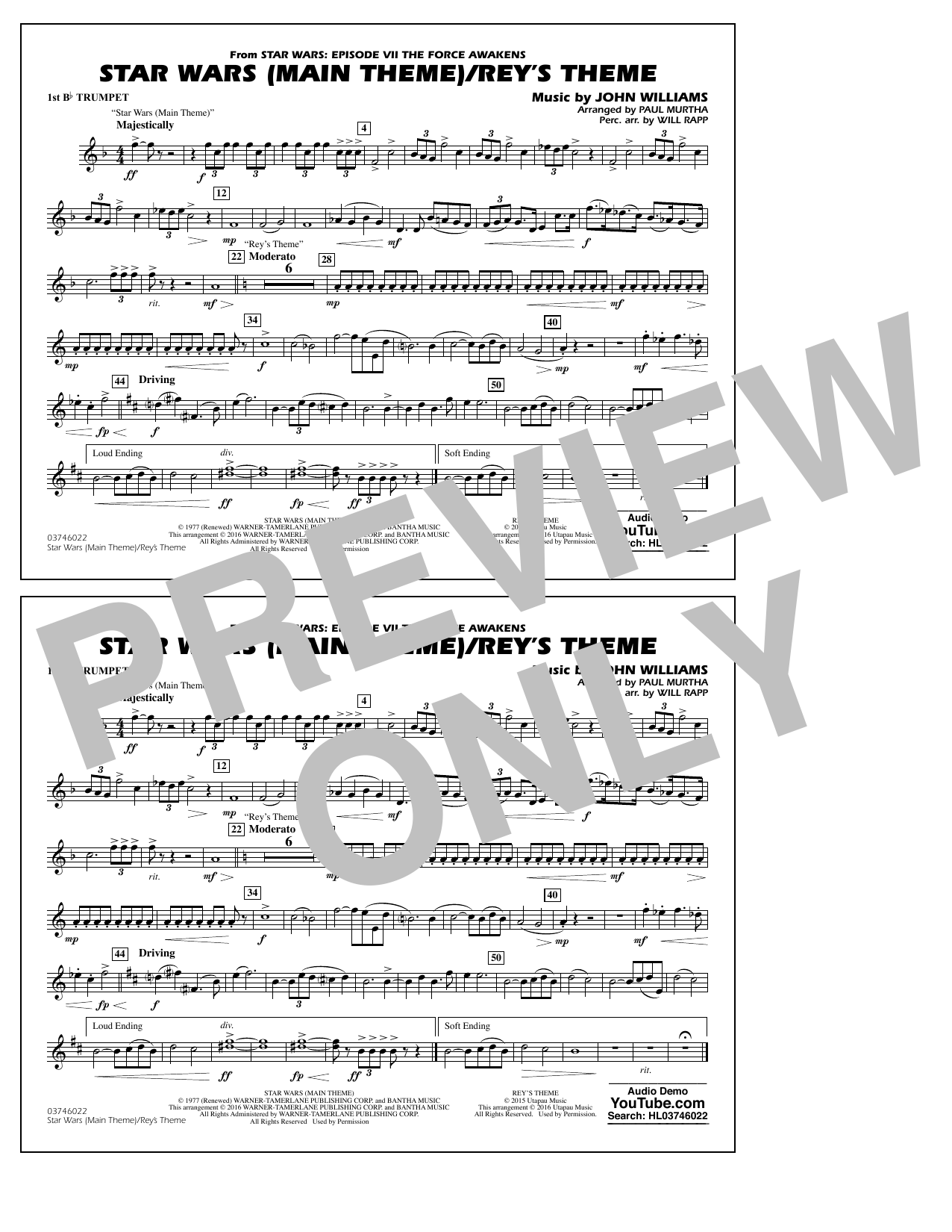 Star Wars Main Theme/Rey's Theme (from The Force Awakens) - 1st Bb Trumpet (Marching Band)