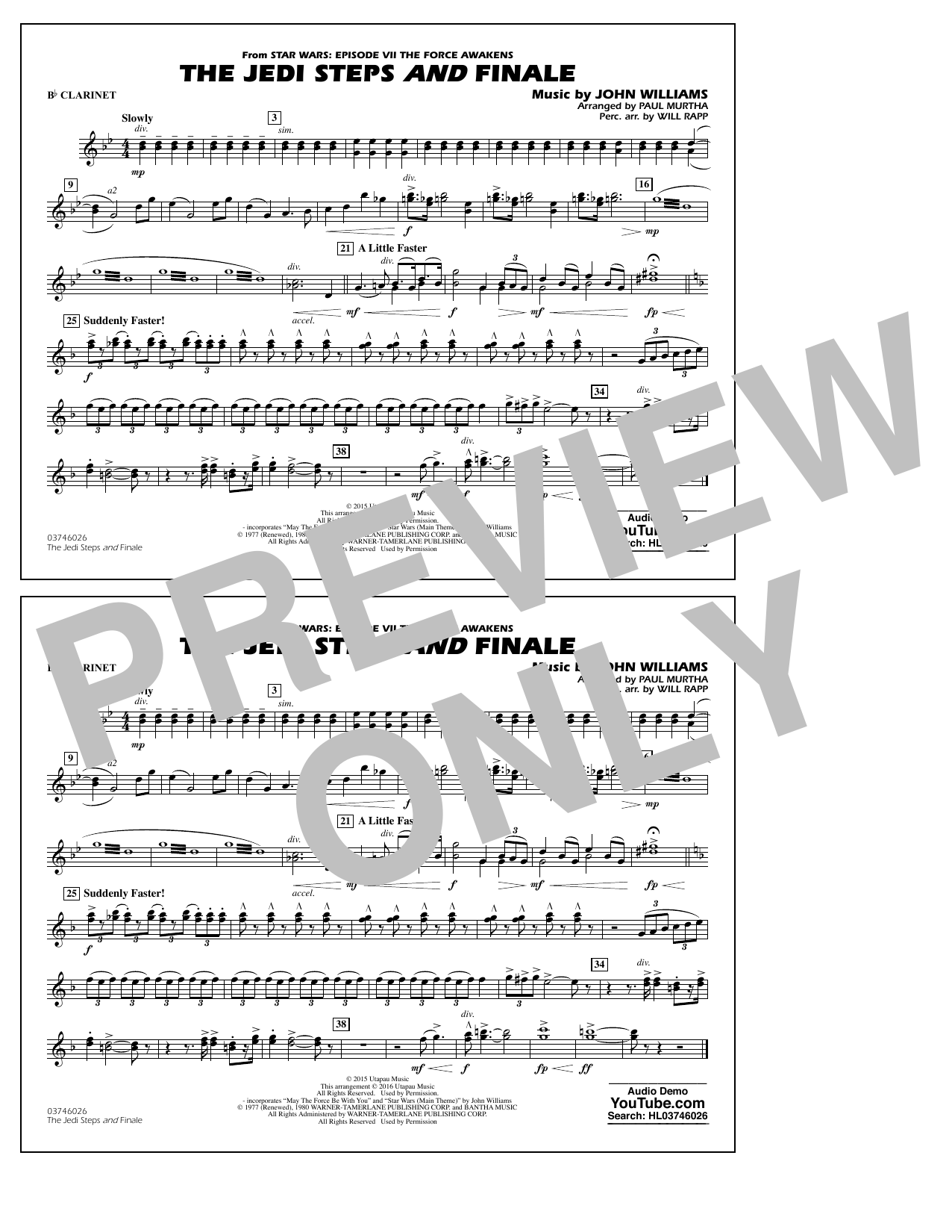 The Jedi Steps and Finale (from Star Wars: The Force Awakens) - Bb Clarinet (Marching Band)