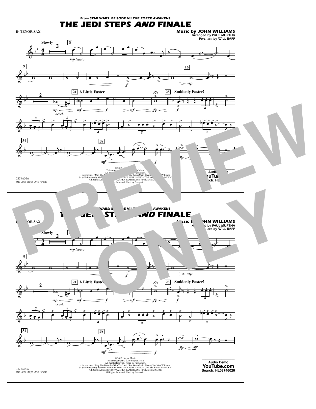The Jedi Steps and Finale (from Star Wars: The Force Awakens) - Bb Tenor Sax (Marching Band)