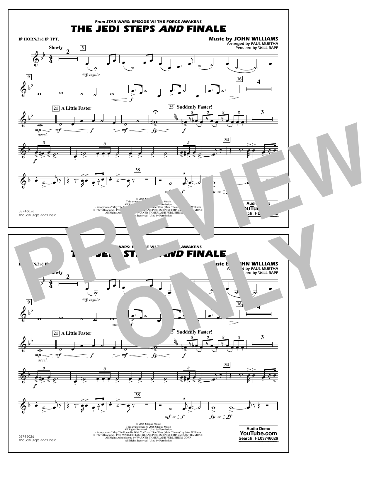 The Jedi Steps and Finale (from Star Wars: The Force Awakens) - Bb Horn/3rd Bb Tpt (Marching Band)