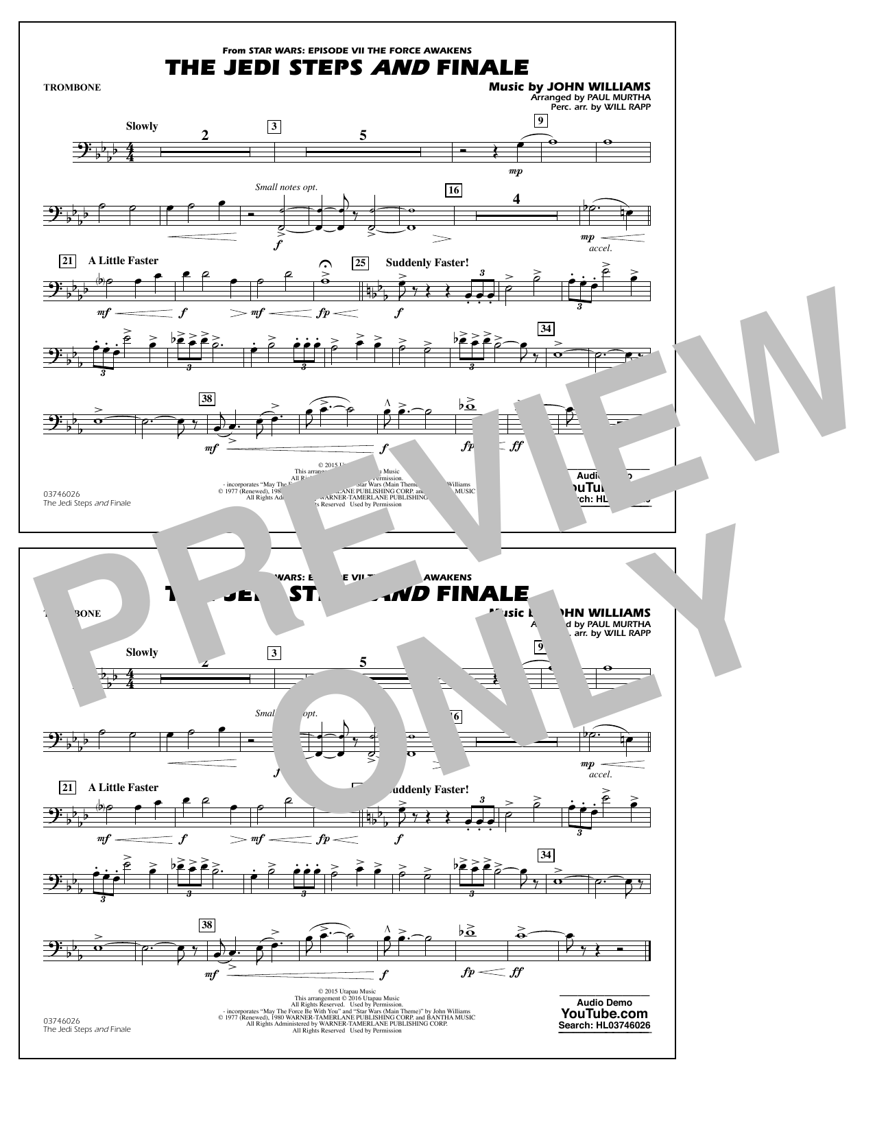 The Jedi Steps and Finale (from Star Wars: The Force Awakens) - Trombone (Marching Band)