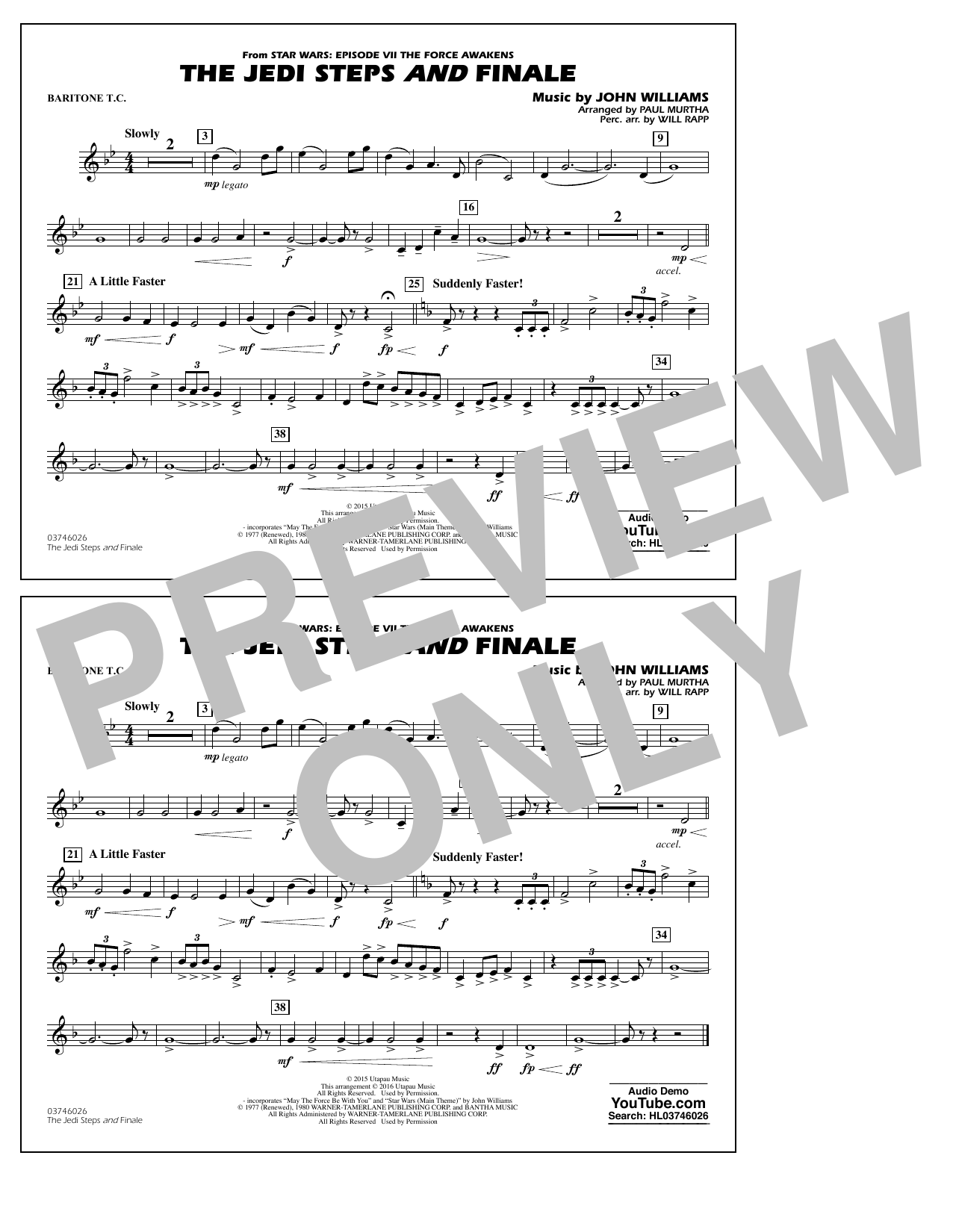 The Jedi Steps and Finale (from Star Wars: The Force Awakens) - Baritone T.C. (Marching Band)