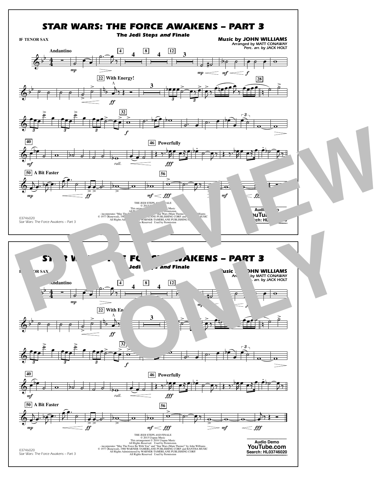 Star Wars: The Force Awakens - Part 3 - Bb Tenor Sax (Marching Band)