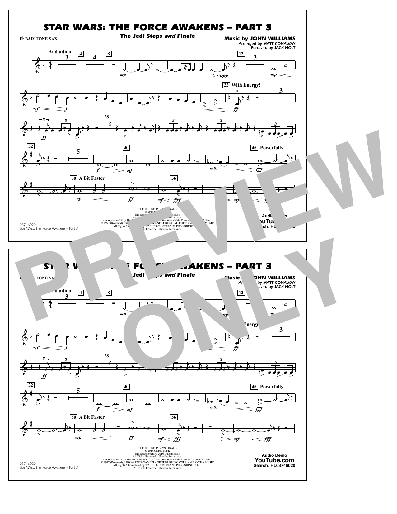 Star Wars: The Force Awakens - Part 3 - Eb Baritone Sax (Marching Band)