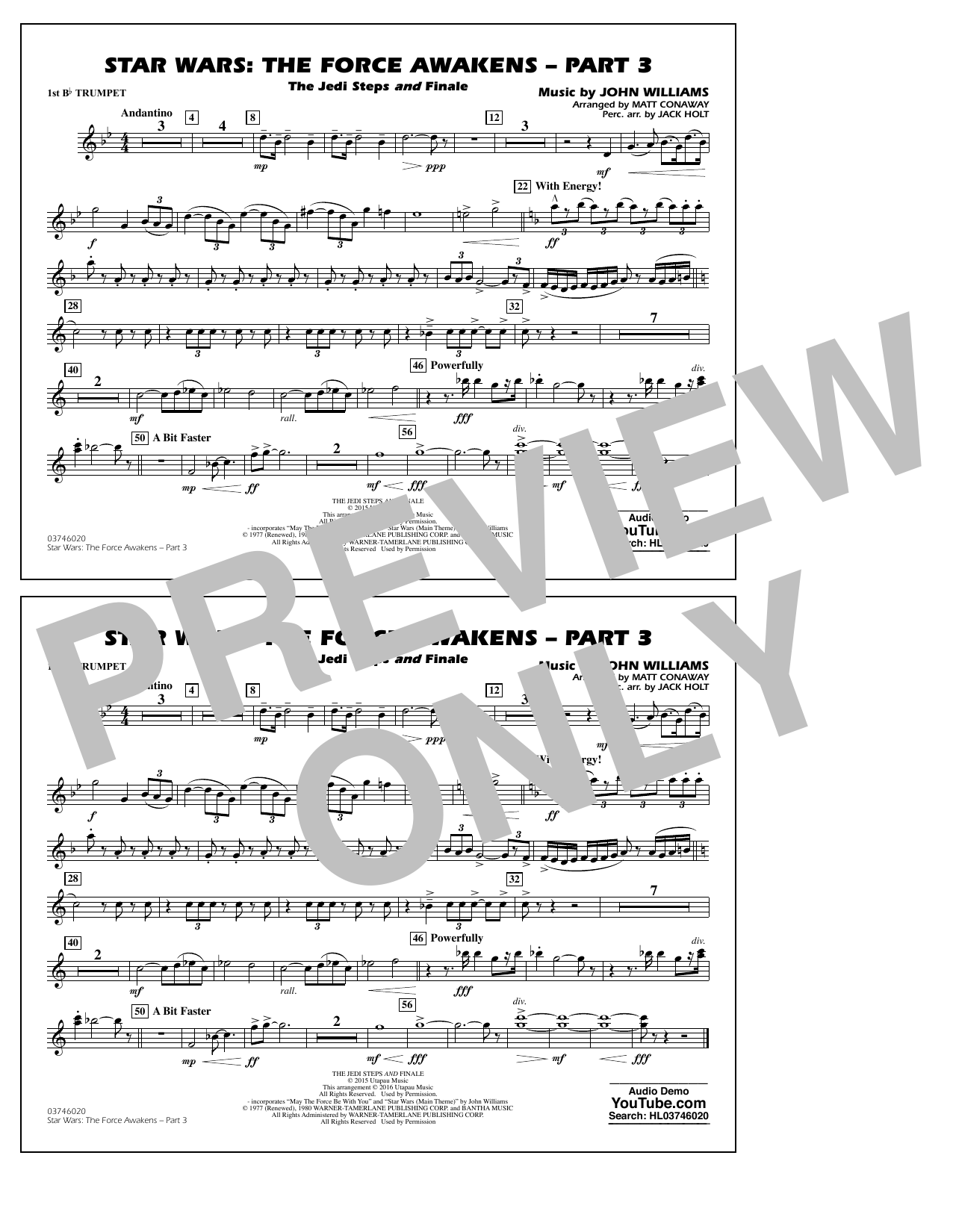 Star Wars: The Force Awakens - Part 3 - 1st Bb Trumpet by Matt Conaway  Marching Band Digital Sheet Music