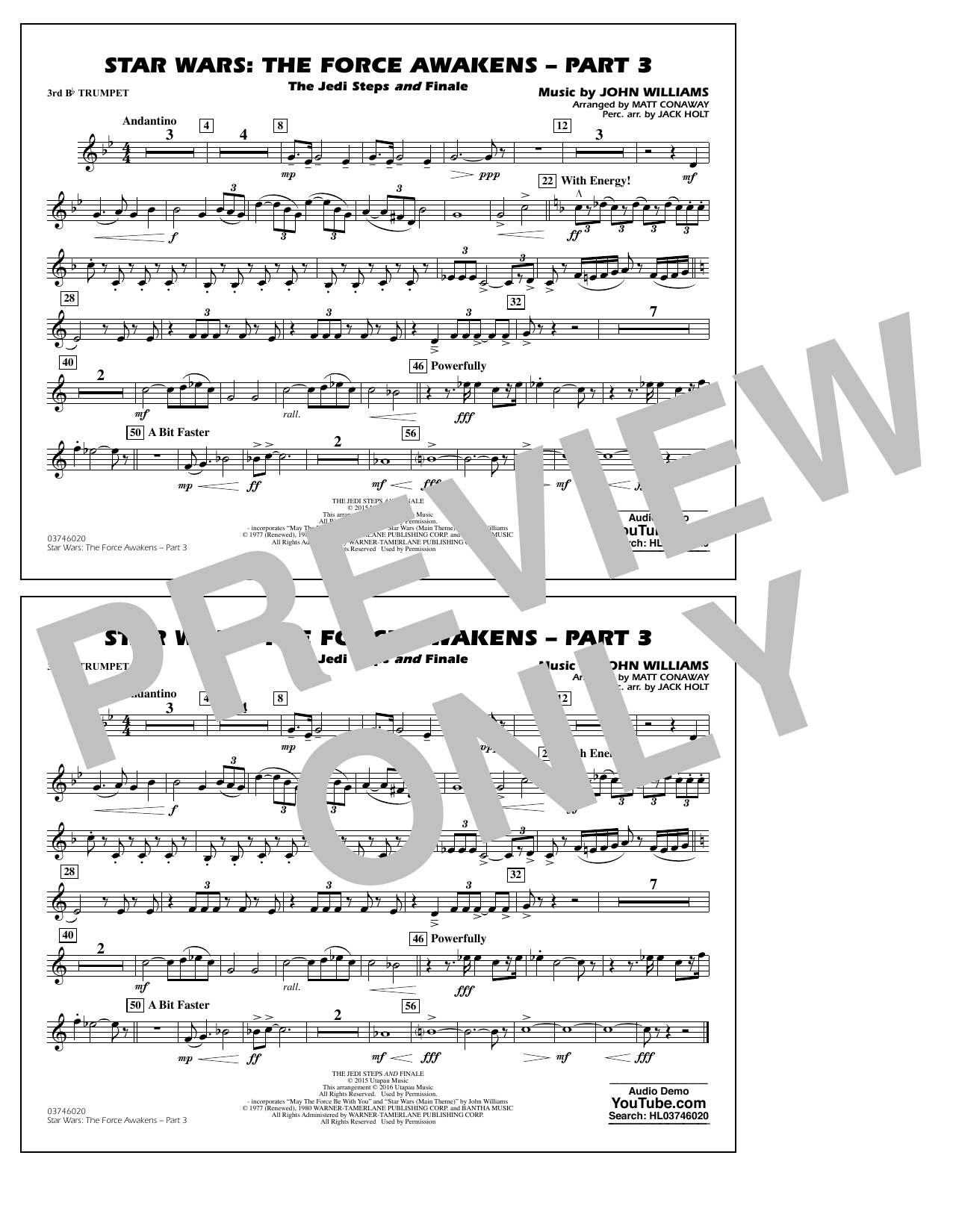 Star Wars: The Force Awakens - Part 3 - 3rd Bb Trumpet (Marching Band)
