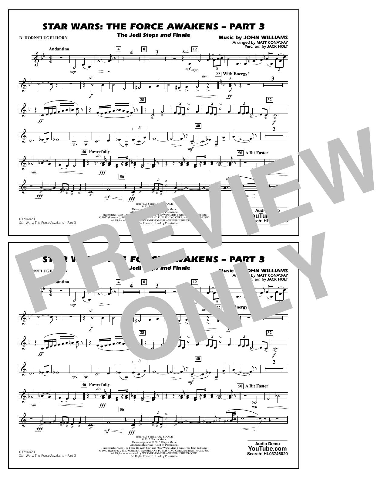 Star Wars: The Force Awakens - Part 3 - Bb Horn/Flugelhorn (Marching Band)