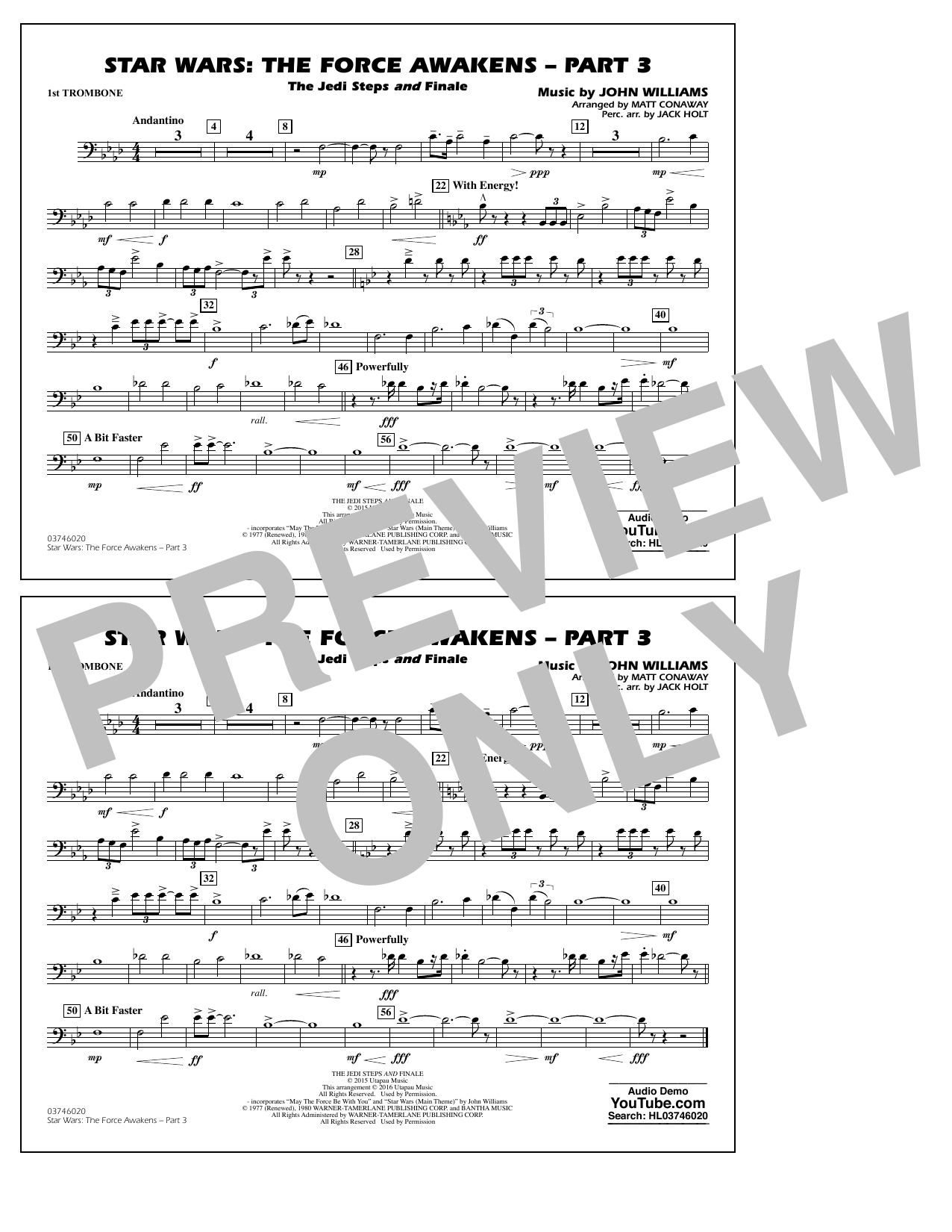 Star Wars: The Force Awakens - Part 3 - 1st Trombone (Marching Band)