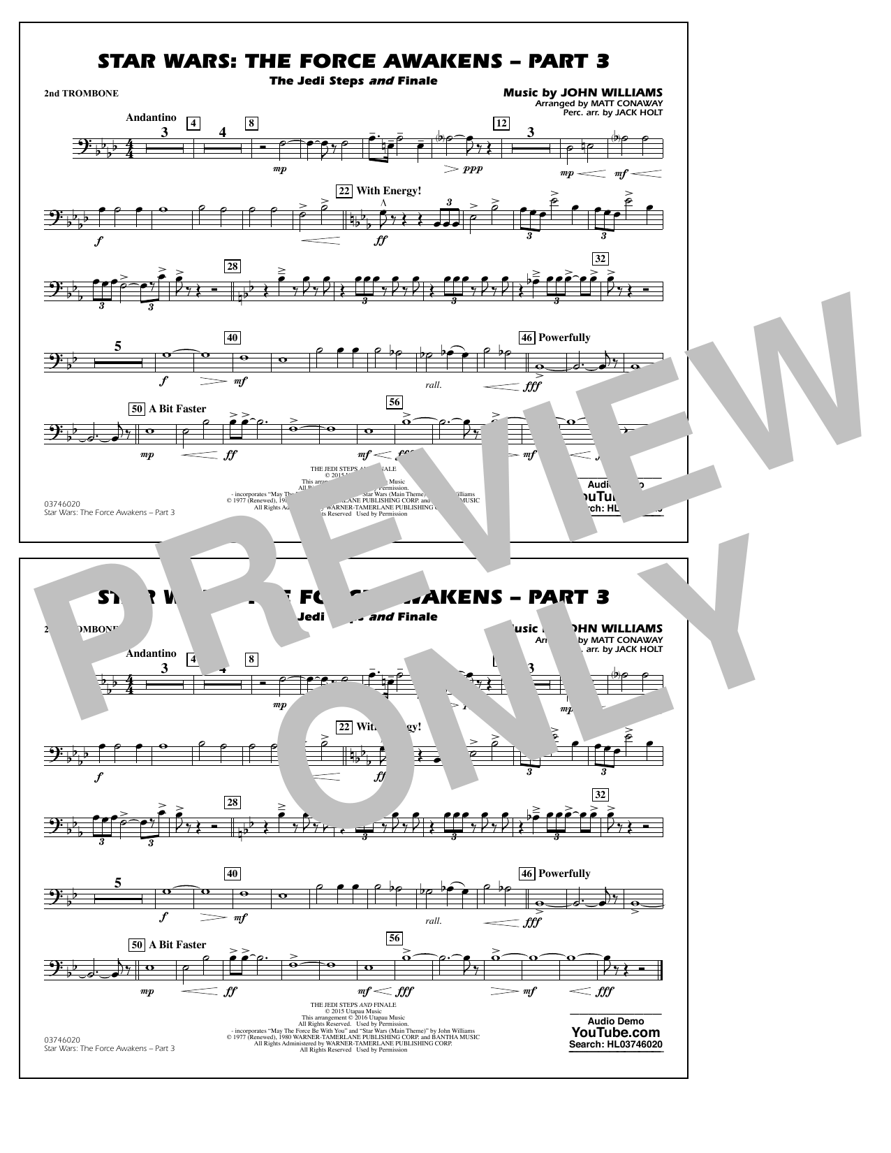 Star Wars: The Force Awakens - Part 3 - 2nd Trombone (Marching Band)
