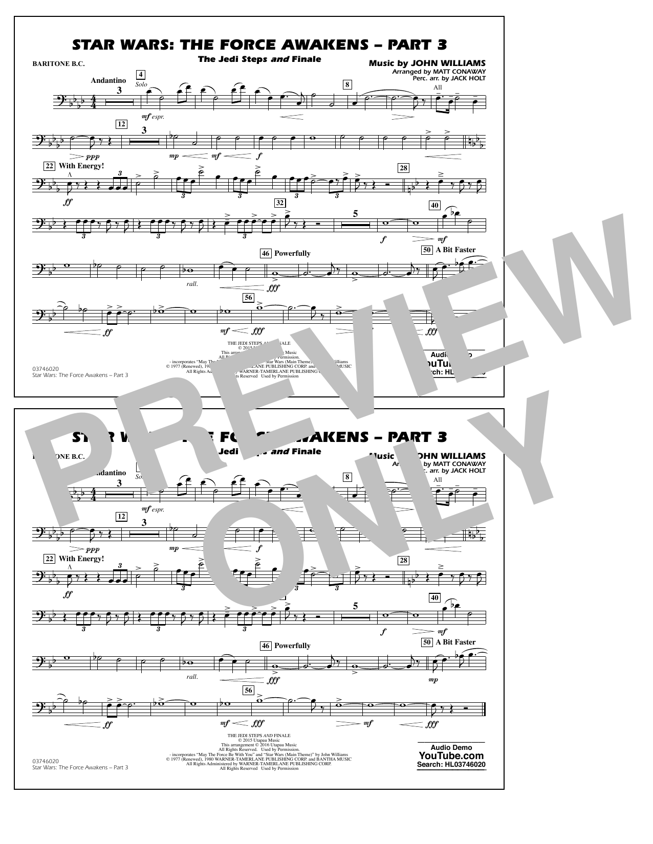 Star Wars: The Force Awakens - Part 3 - Baritone B.C. (Marching Band)