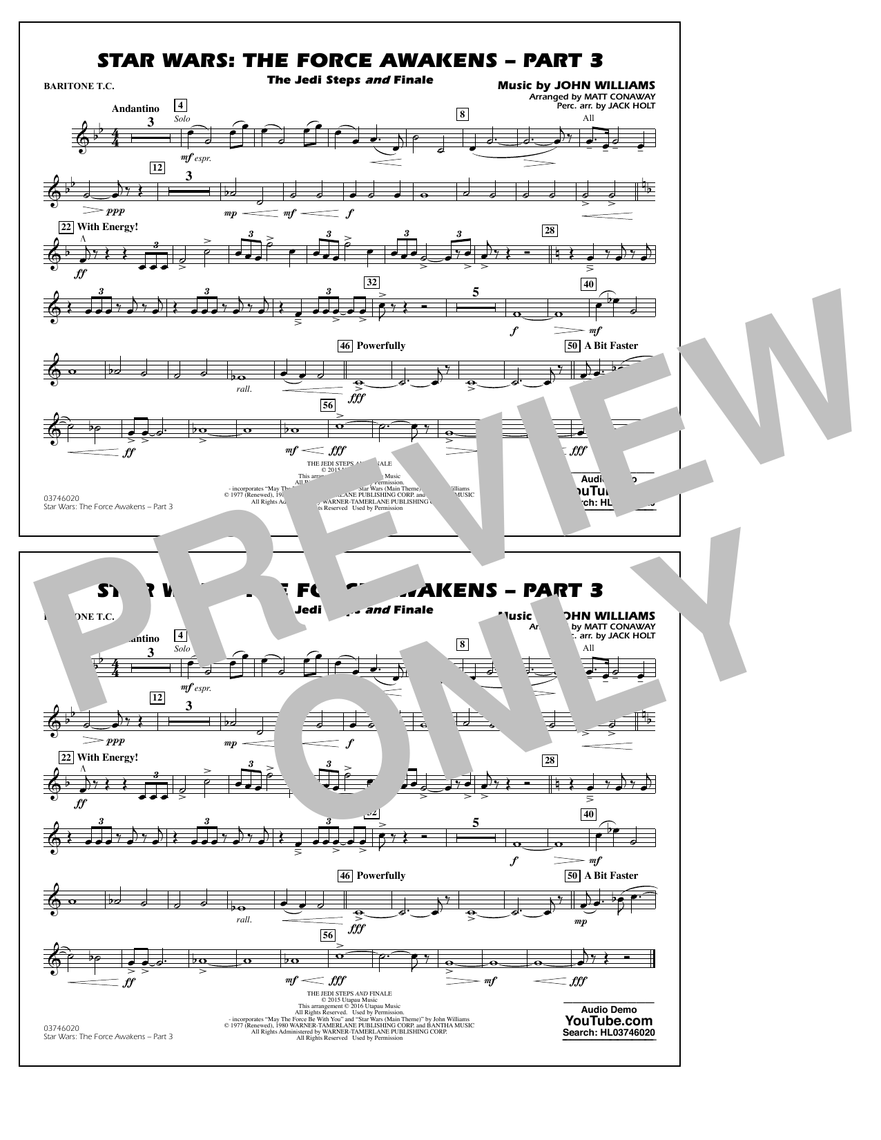 Star Wars: The Force Awakens - Part 3 - Baritone T.C. (Marching Band)
