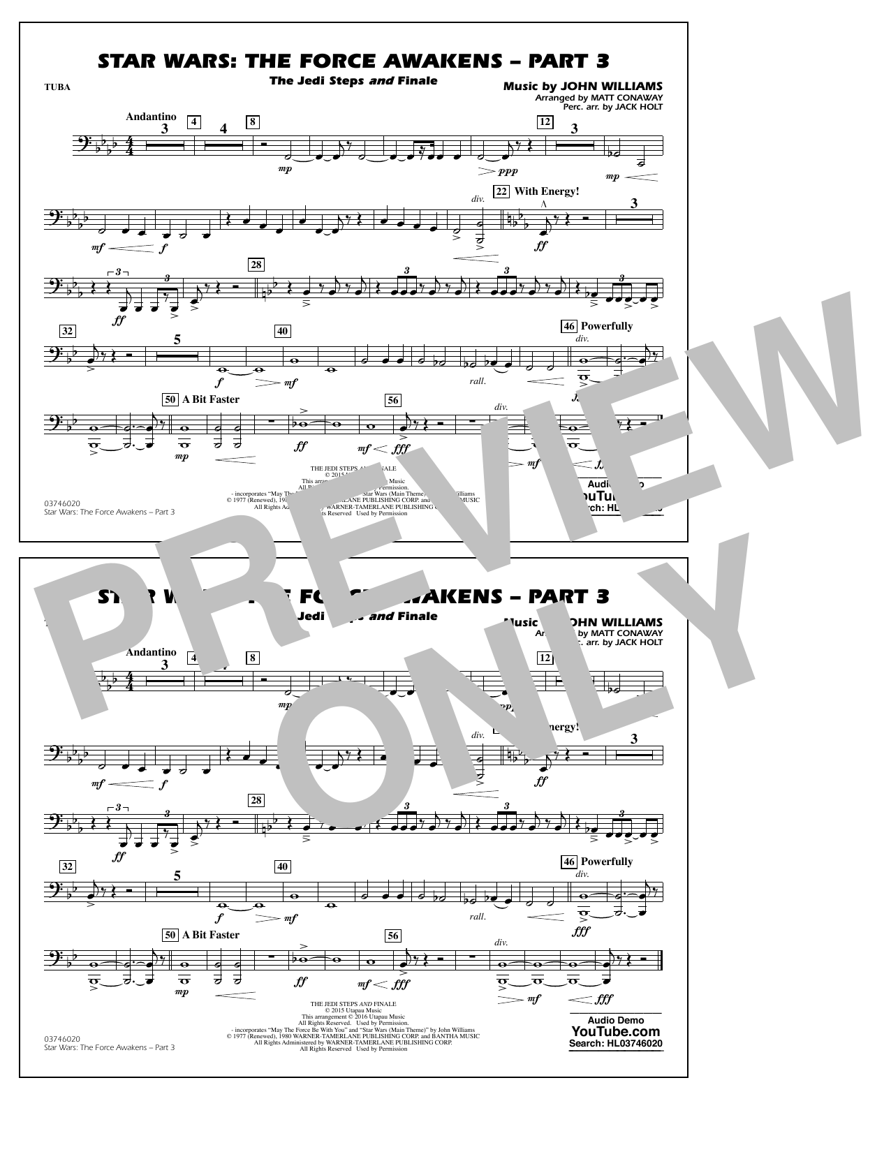 Star Wars: The Force Awakens - Part 3 - Tuba by Matt Conaway Marching Band  Digital Sheet Music
