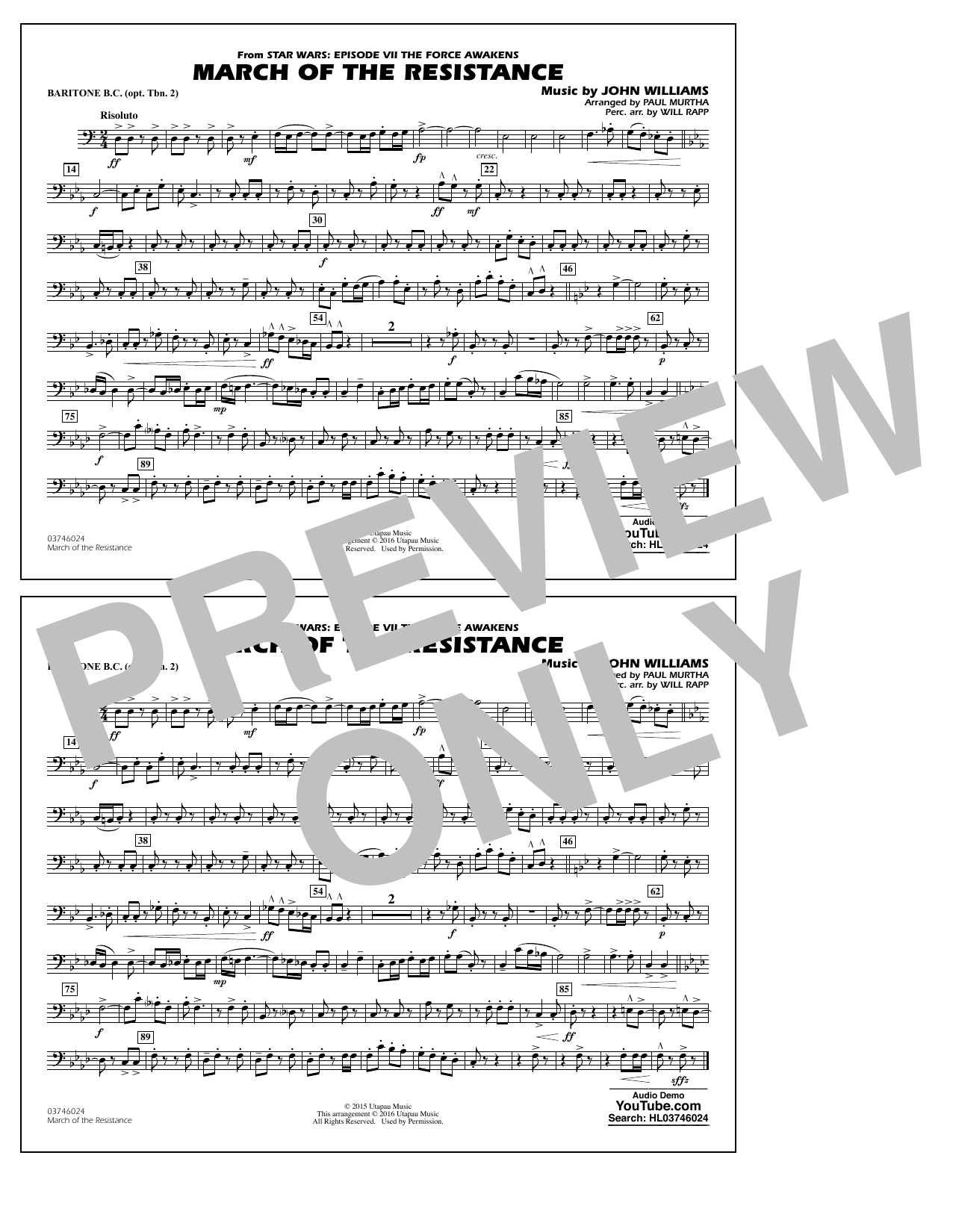 The March of the Resistance (from Star Wars: The Force Awakens) - Baritone B.C. (Opt. Tbn. 2) (Marching Band)