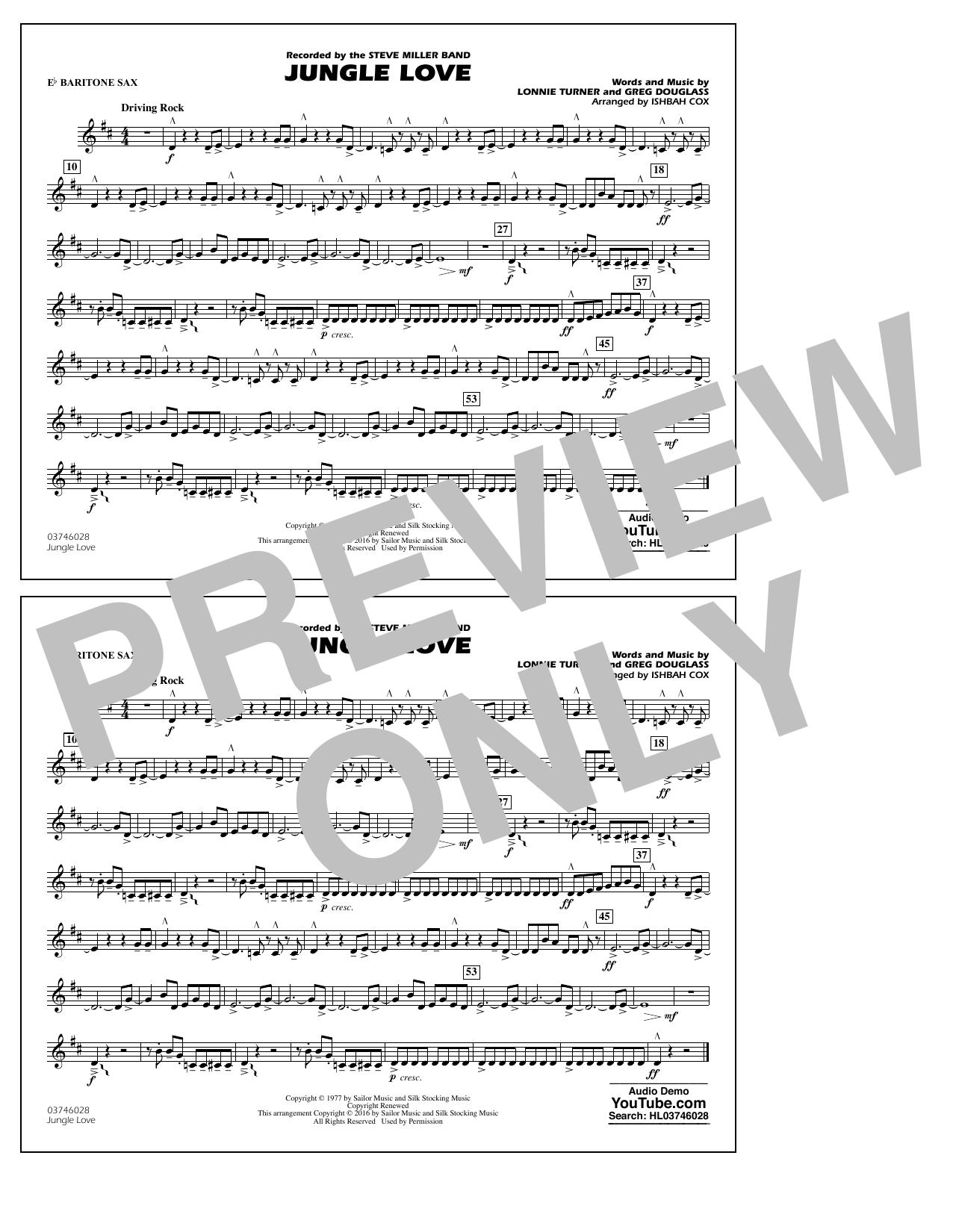 Jungle Love - Eb Baritone Sax (Marching Band)