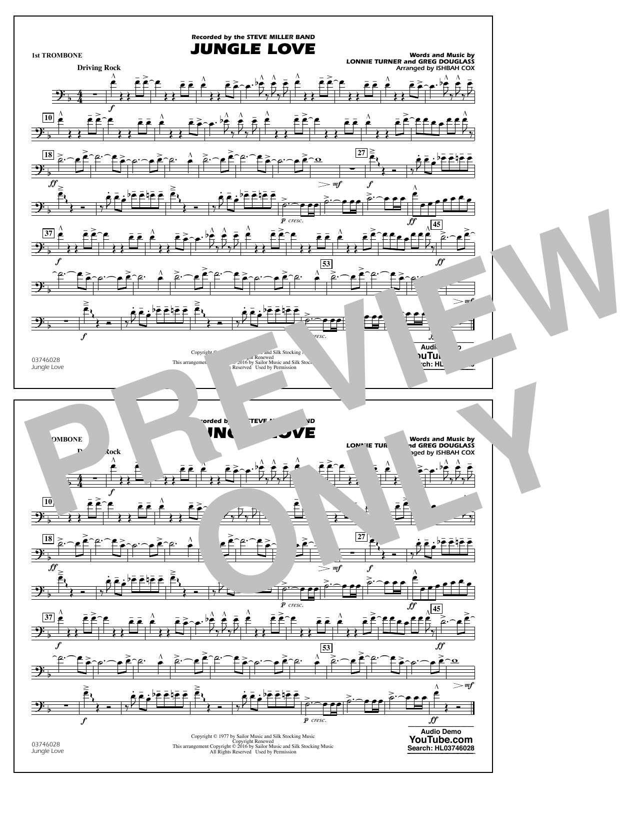 Jungle Love - 1st Trombone (Marching Band)
