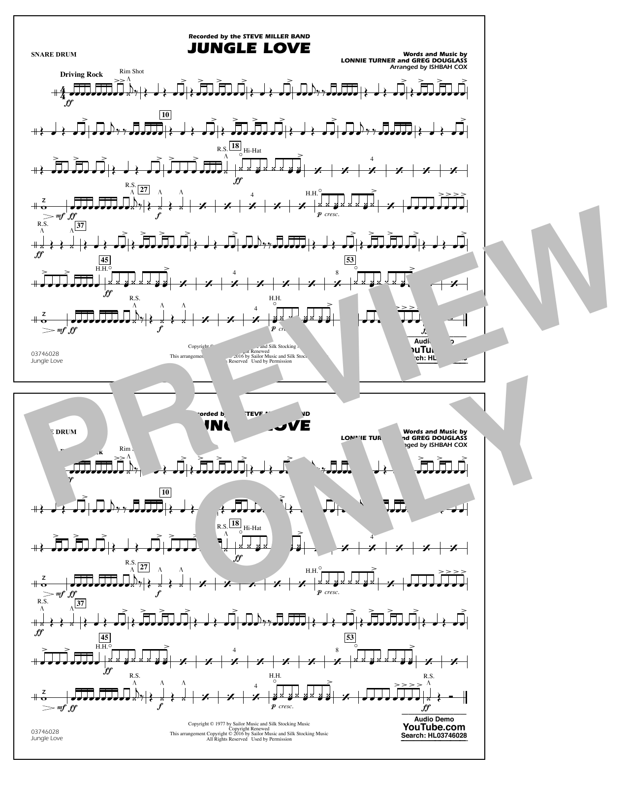 Jungle Love - Snare Drum (Marching Band)