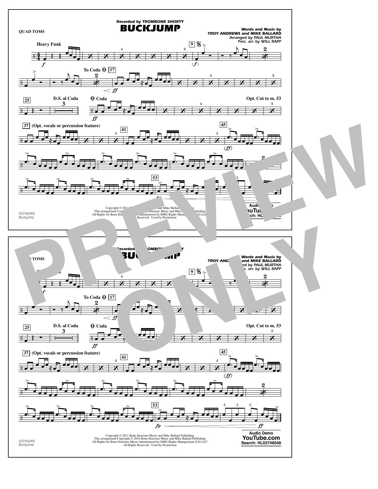 Buckjump - Quad Toms (Marching Band)