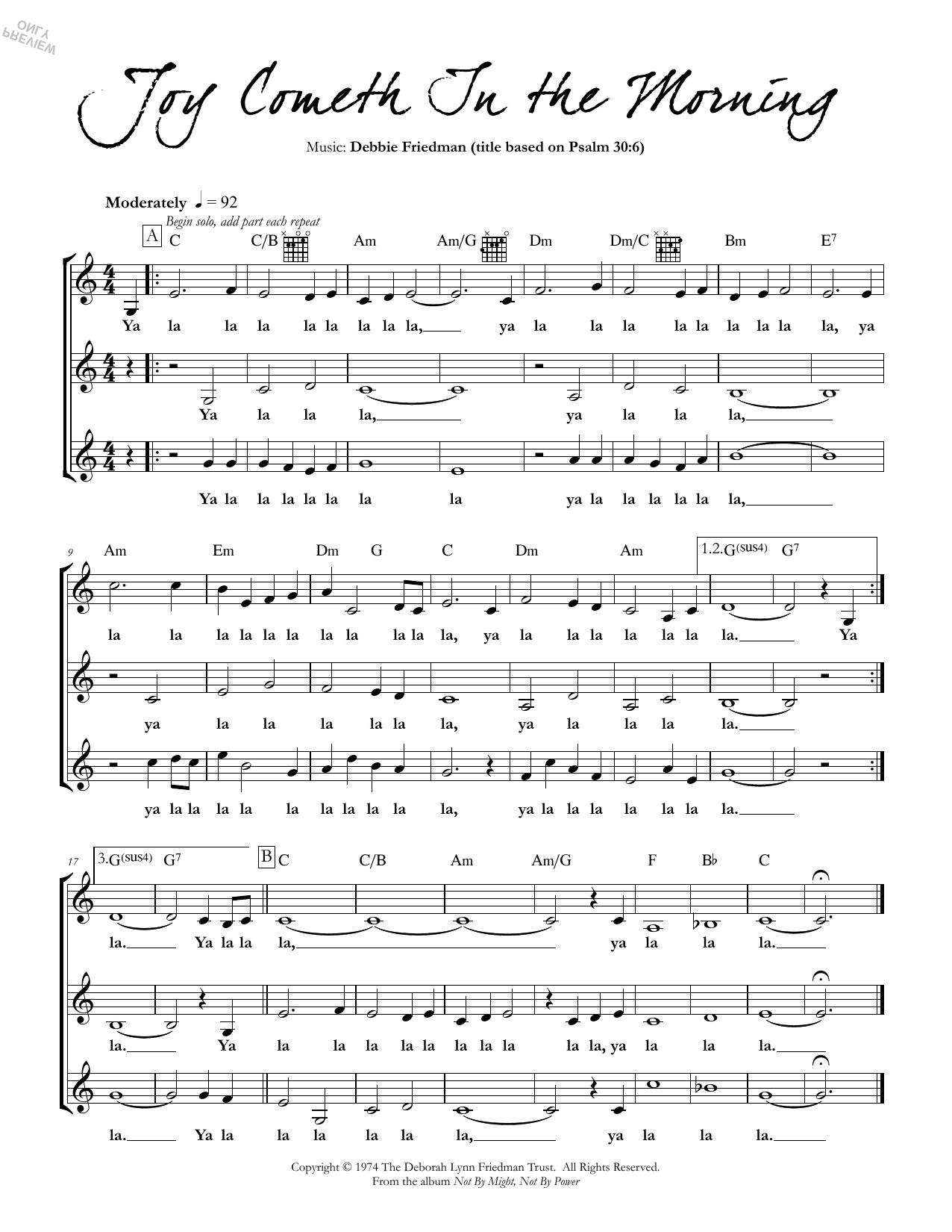 Joy Cometh In the Morning Sheet Music