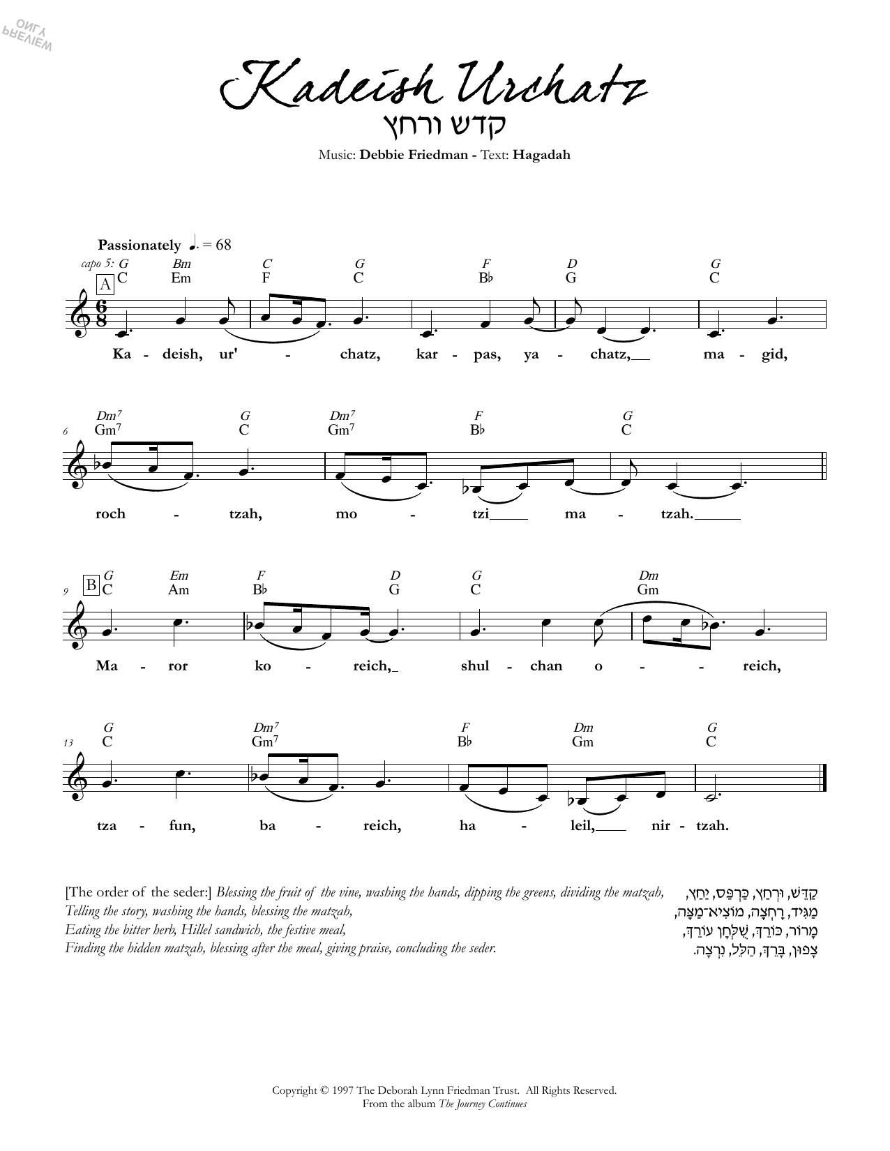 Kadeish Urchatz Sheet Music