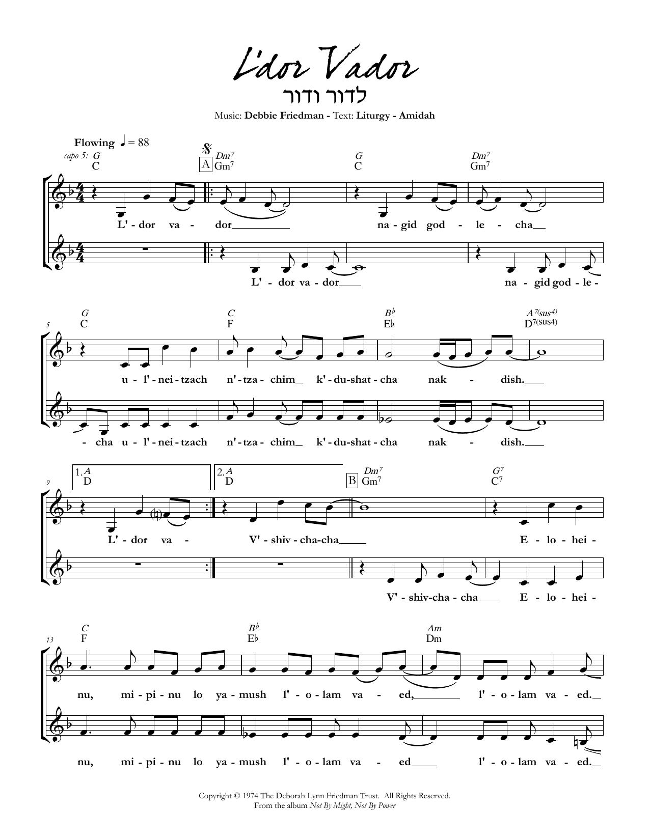 L'dor Vador Sheet Music