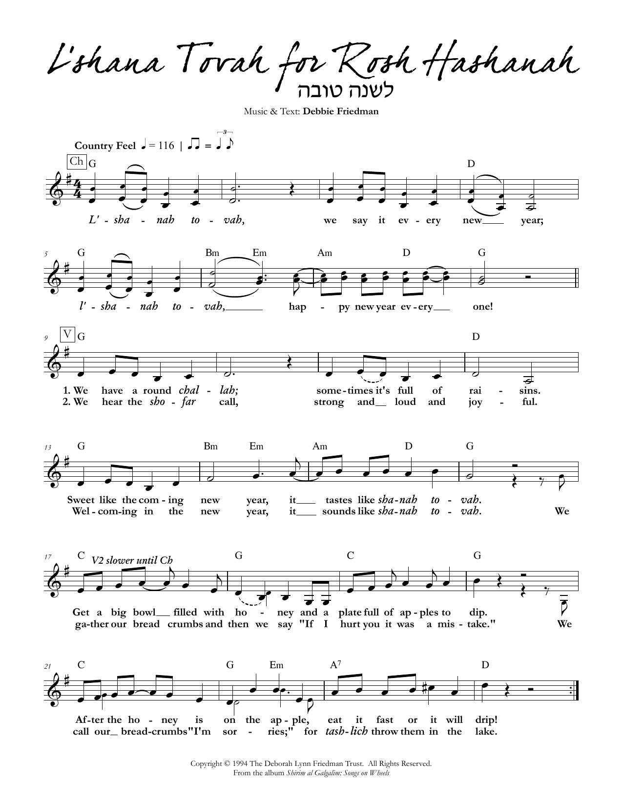 L'shana Tovah for Rosh Hashanah Sheet Music