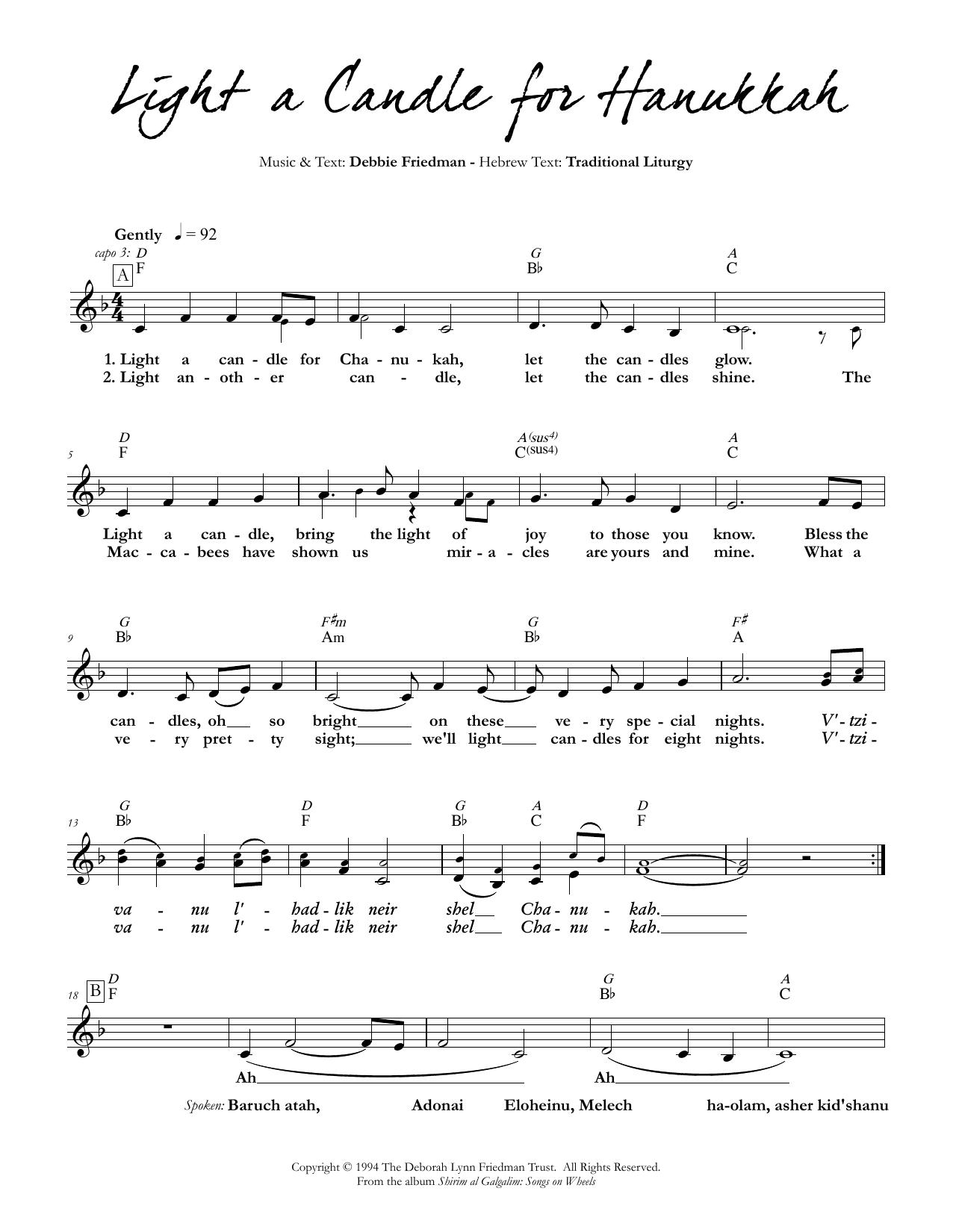 Light a Candle for Hanukkah Sheet Music