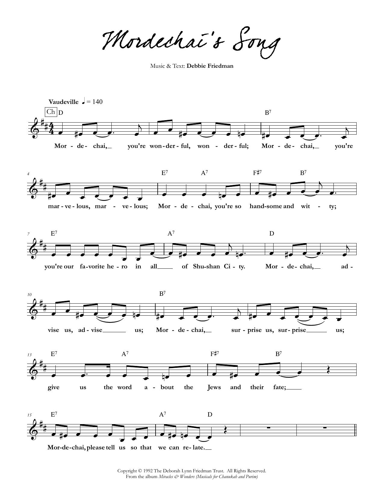 Mordechai's Song Sheet Music
