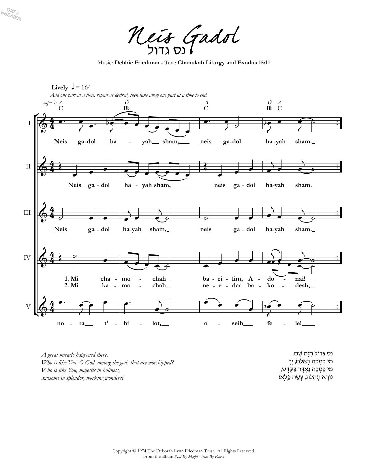 Neis Gadol Sheet Music