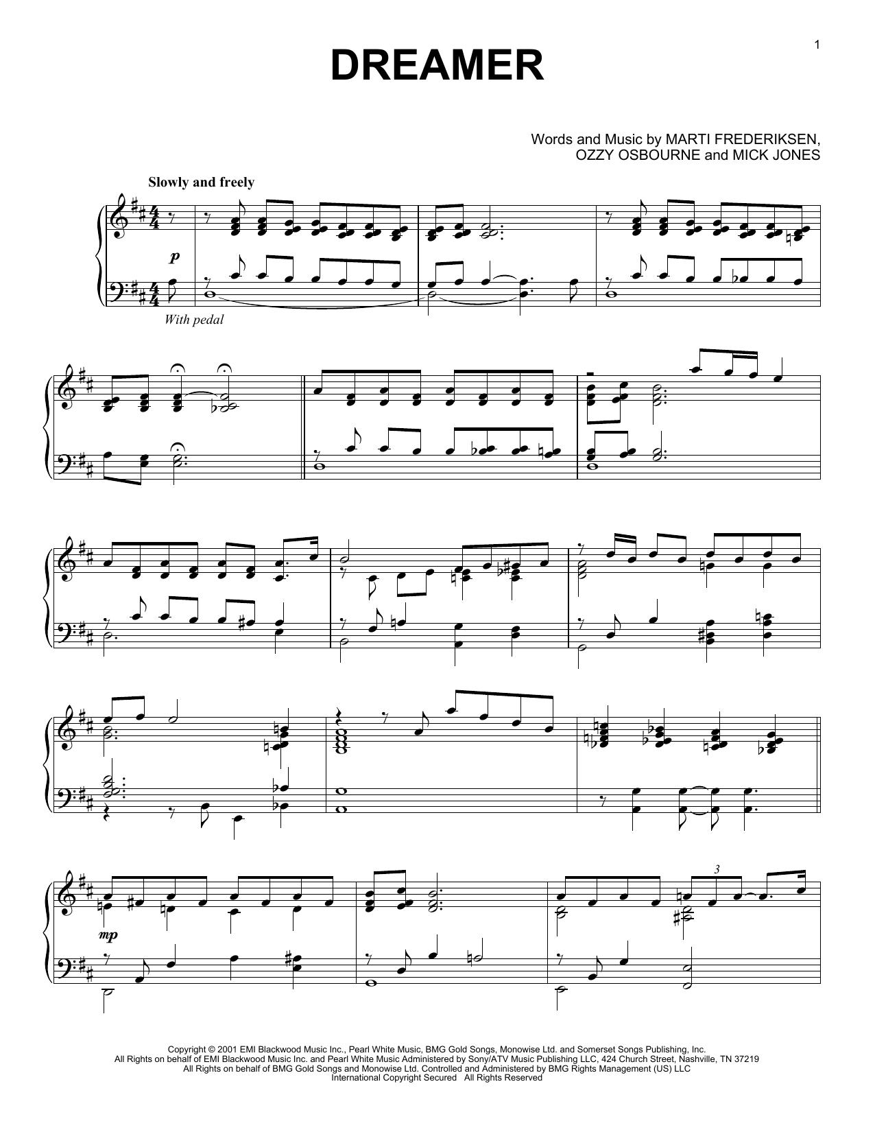 Partition piano Dreamer de Ozzy Osbourne - Piano Solo