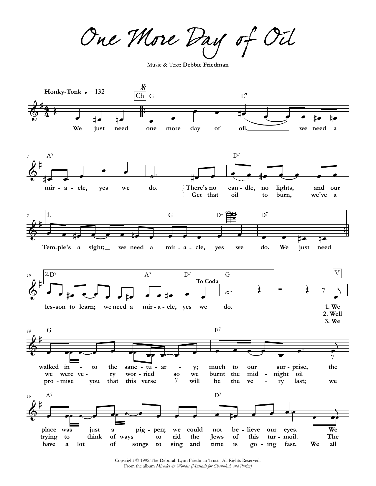 One More Day of Oil Sheet Music