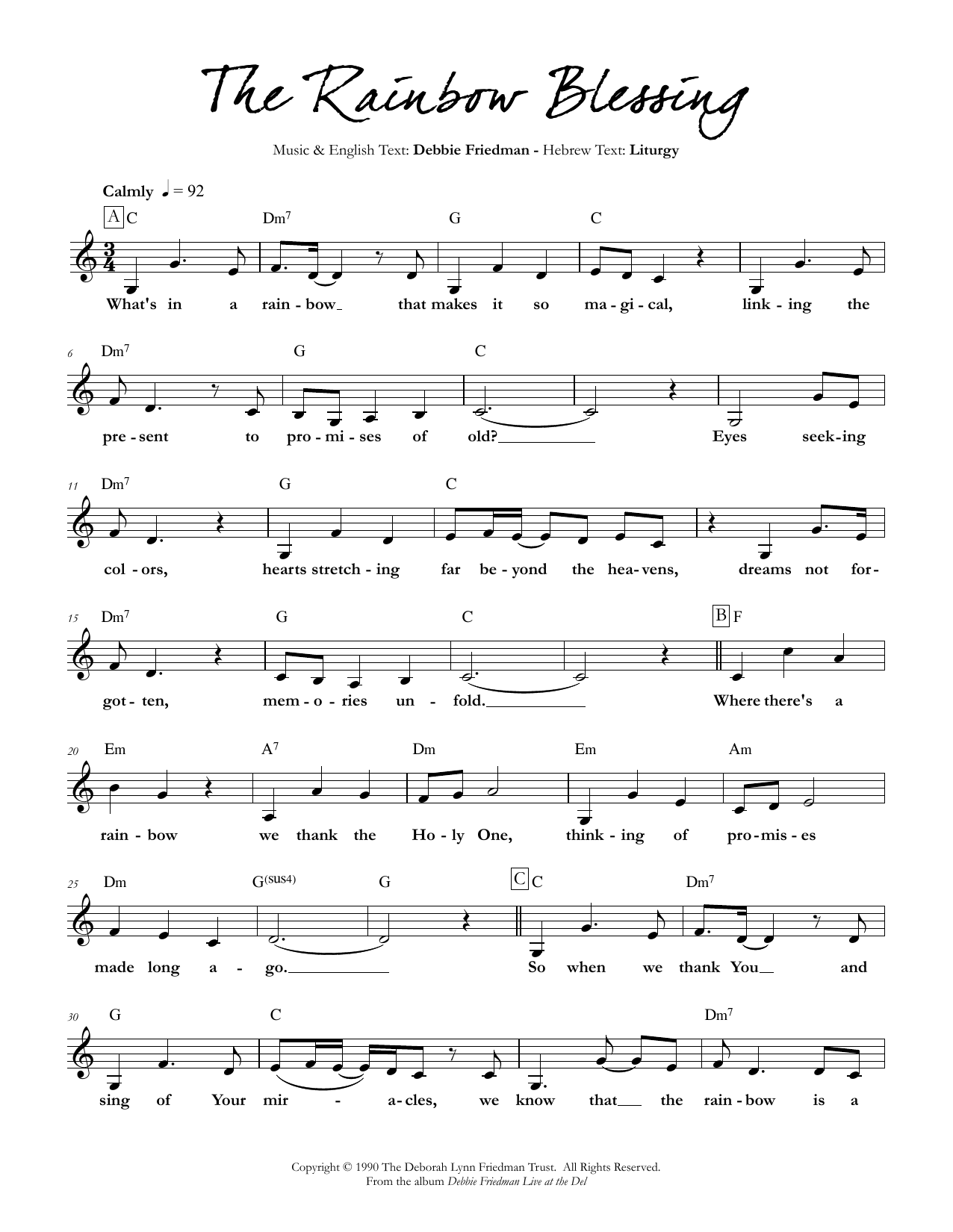 The Rainbow Blessing Sheet Music