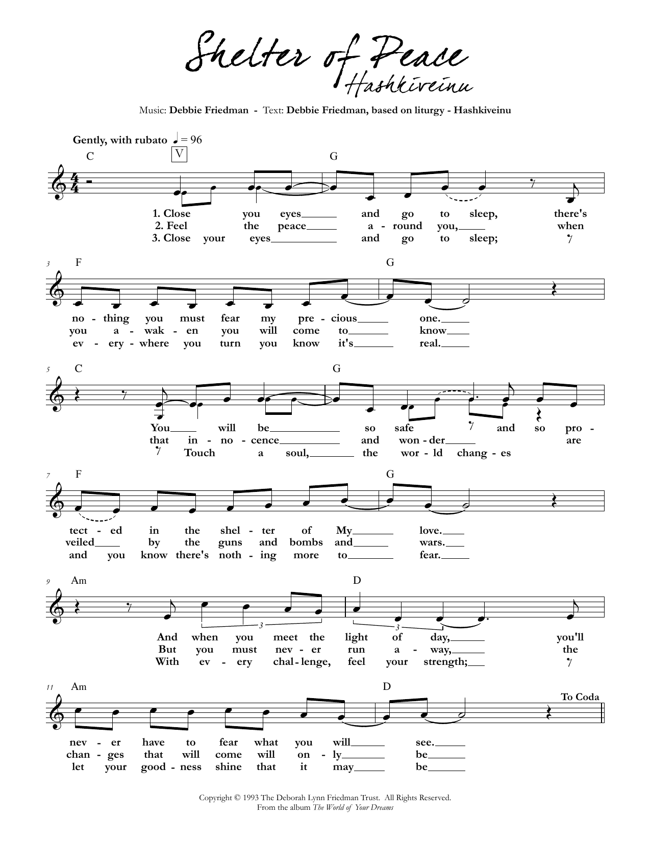 Shelter of Peace Sheet Music