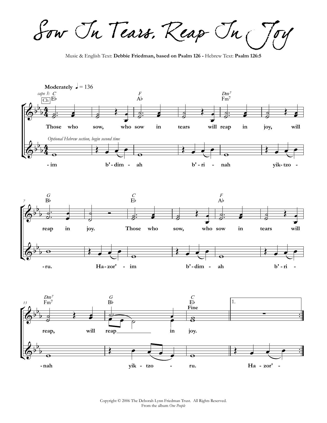 Sow In Tears, Reap In Joy Sheet Music