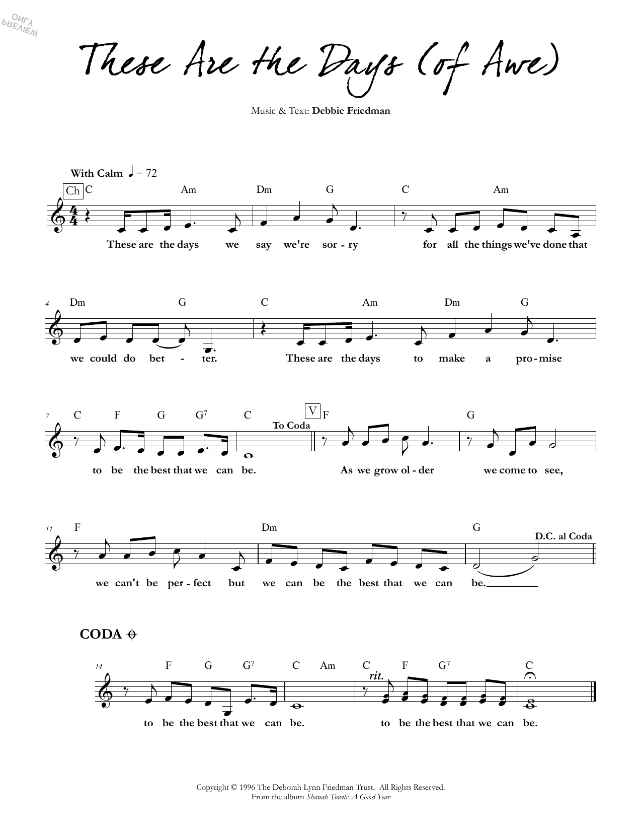 These are the Days (of Awe) Sheet Music