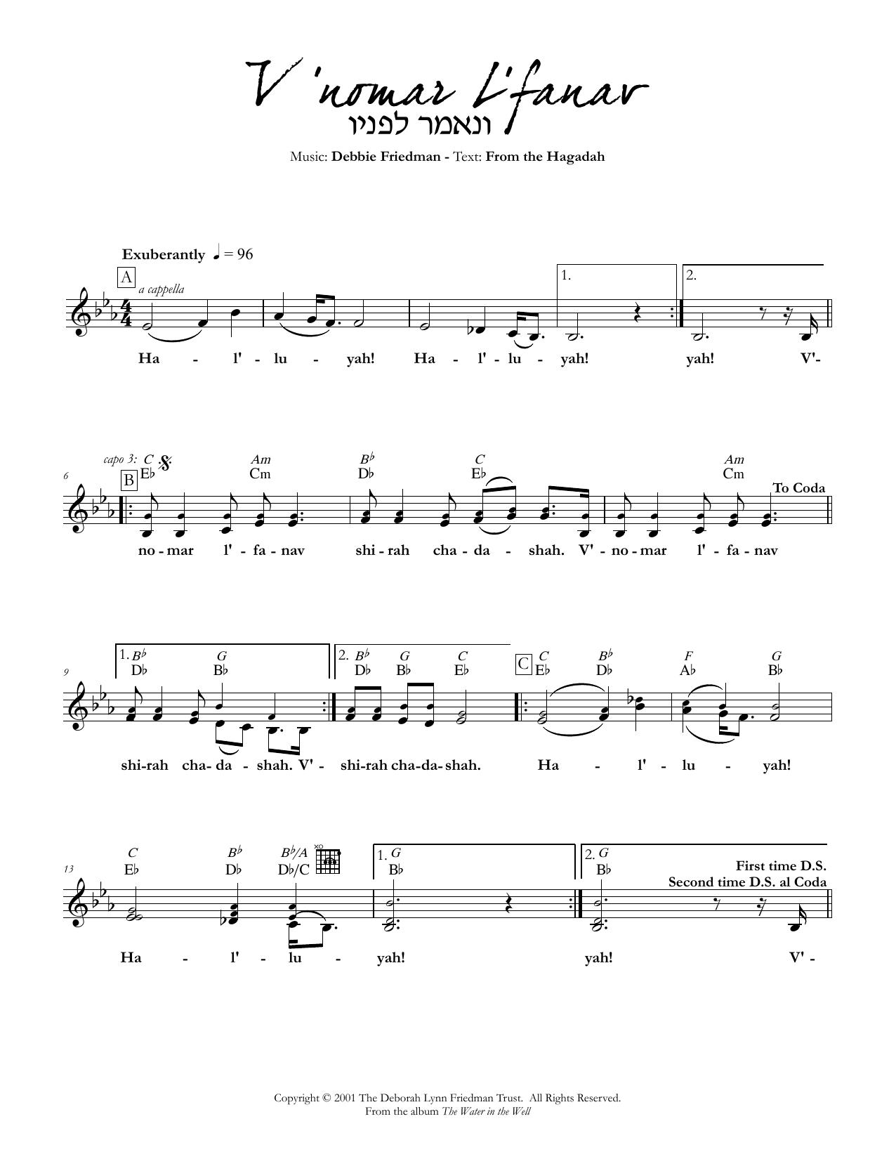 V'nomar L'fanav Sheet Music