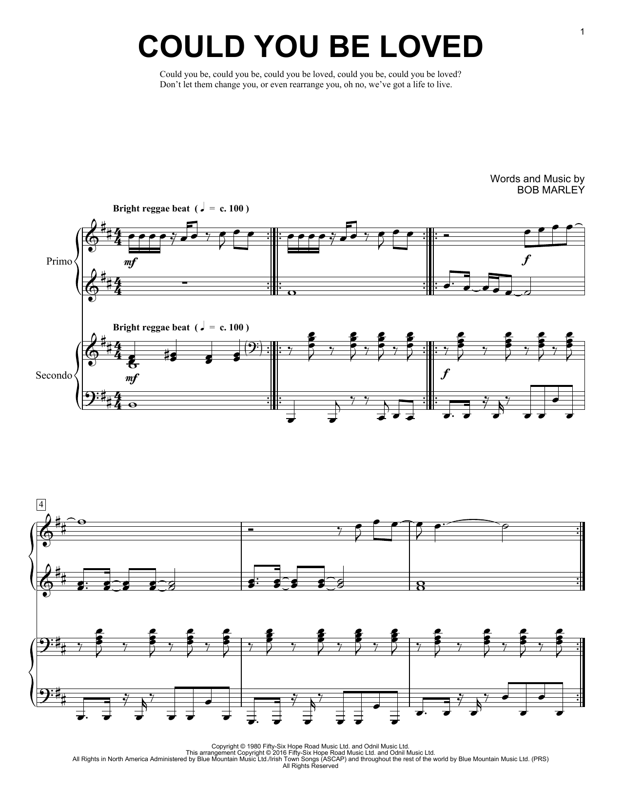 Partition piano Could You Be Loved de Brent Edstrom - 4 mains