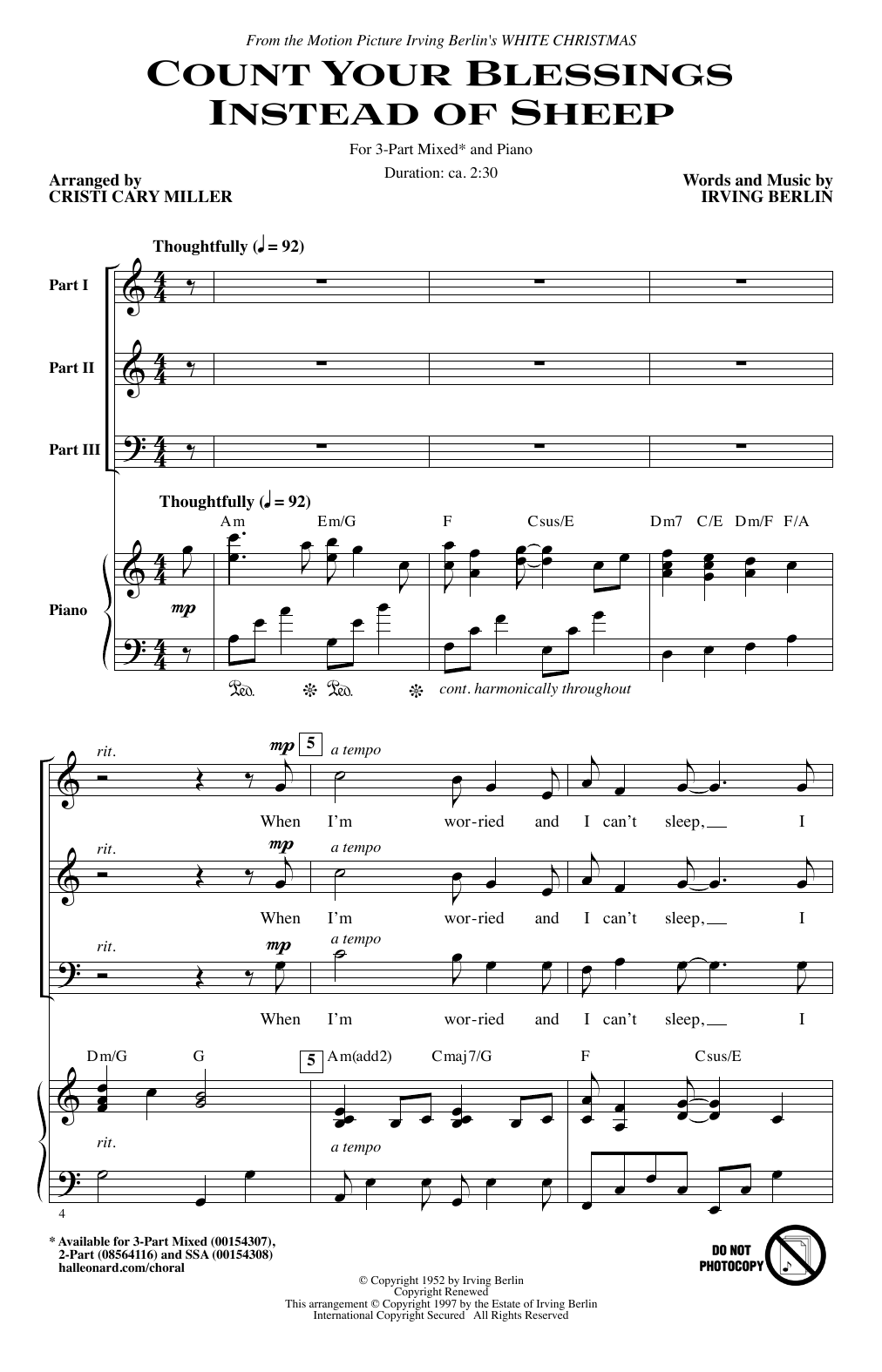 Count Your Blessings Instead Of Sheep (arr. Cristi Miller) Sheet Music