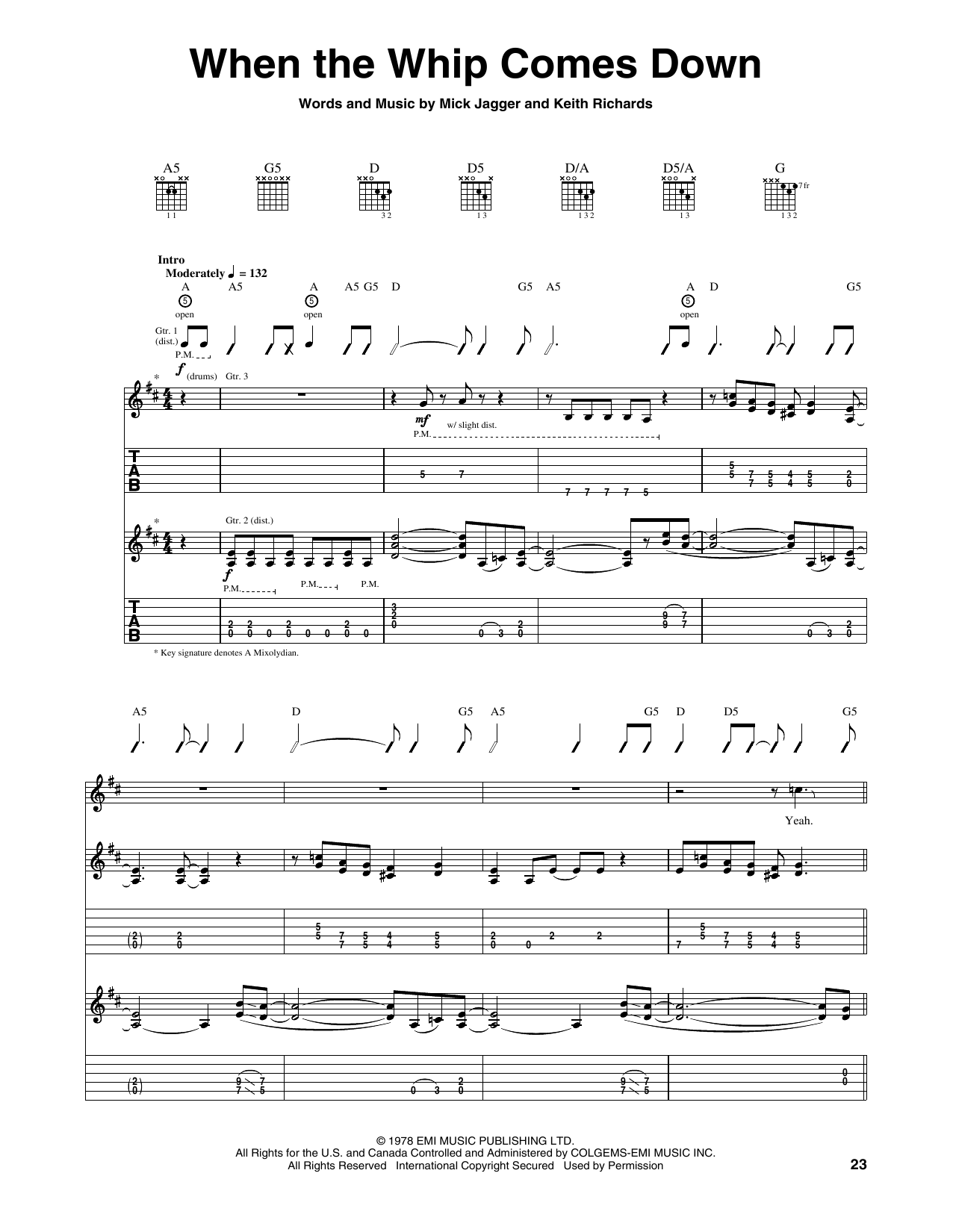 Tablature guitare When The Whip Comes Down de The Rolling Stones - Tablature Guitare