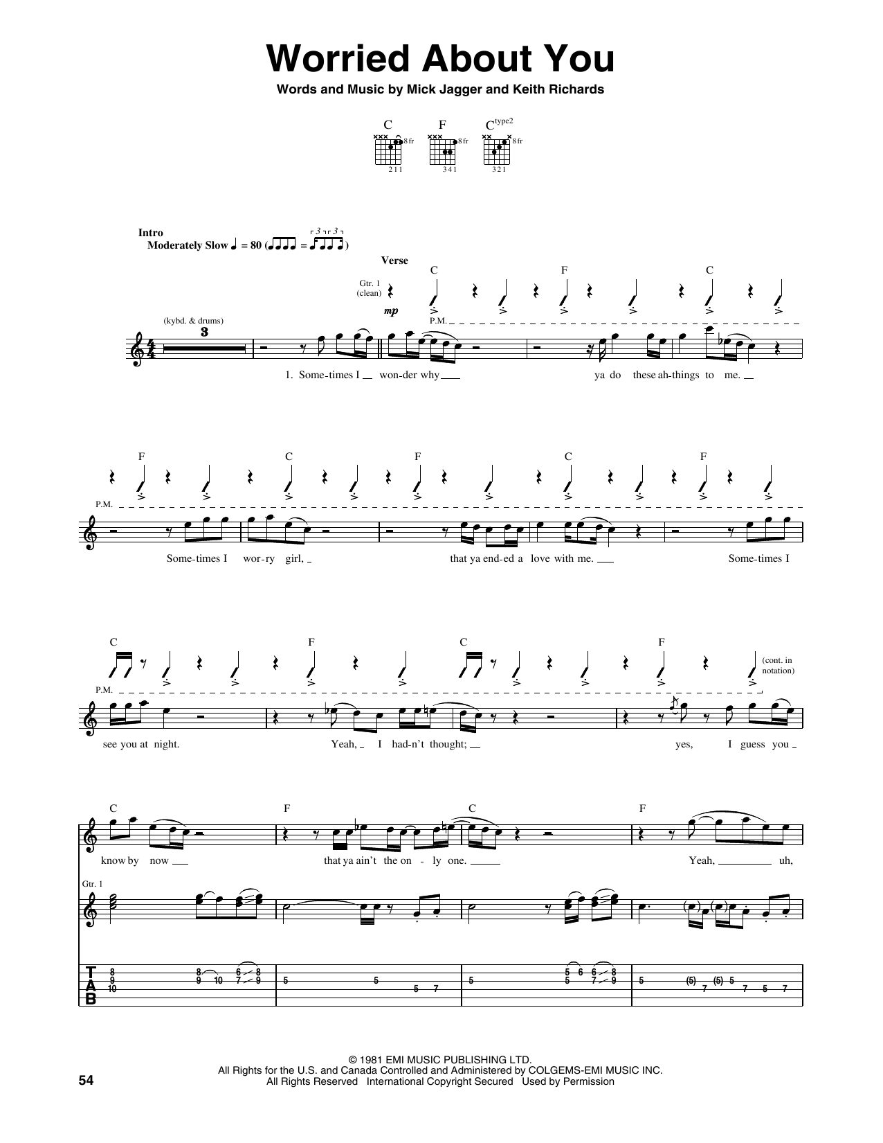 Worried About You (Guitar Tab)