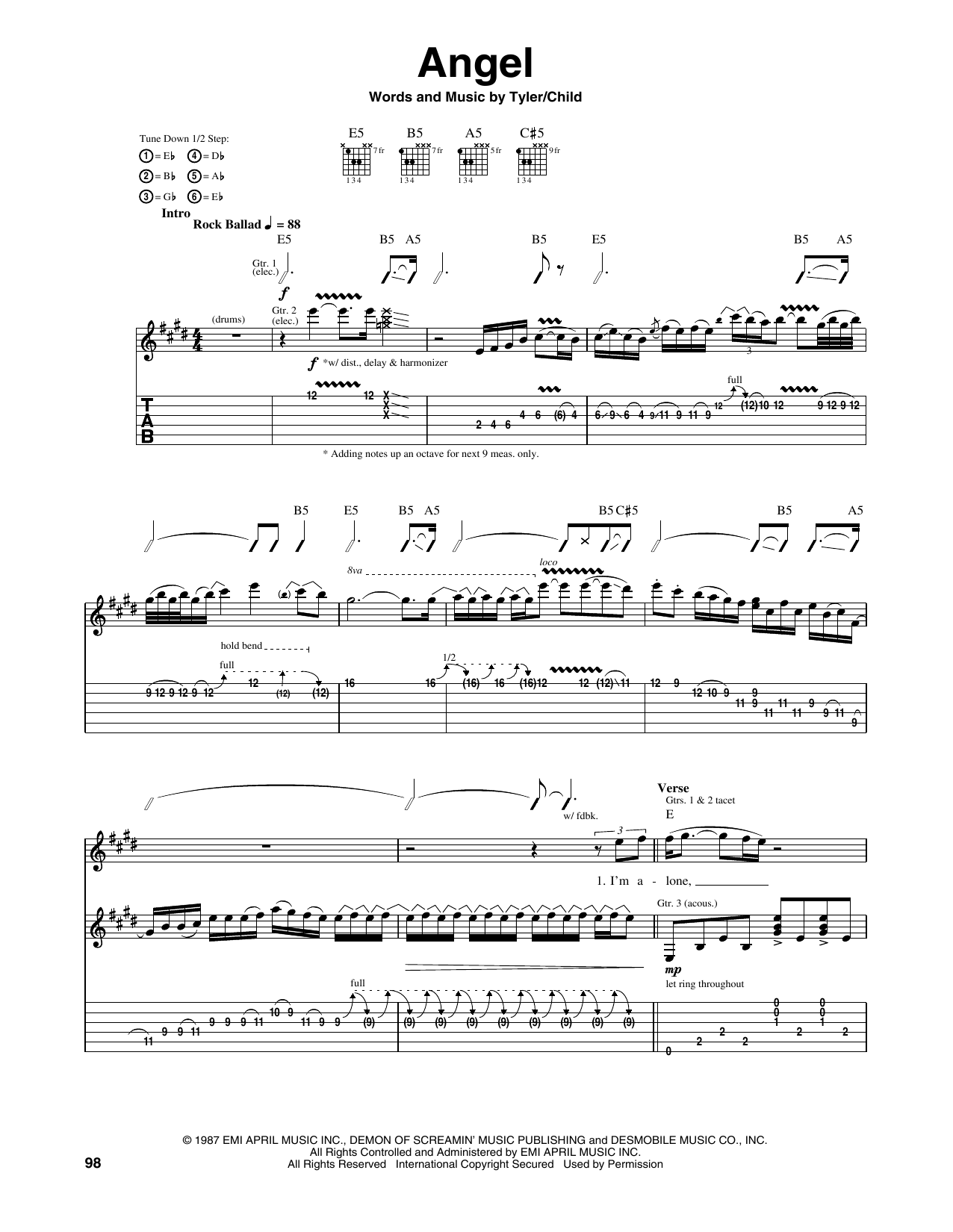 Tablature guitare Angel de Aerosmith - Tablature Guitare