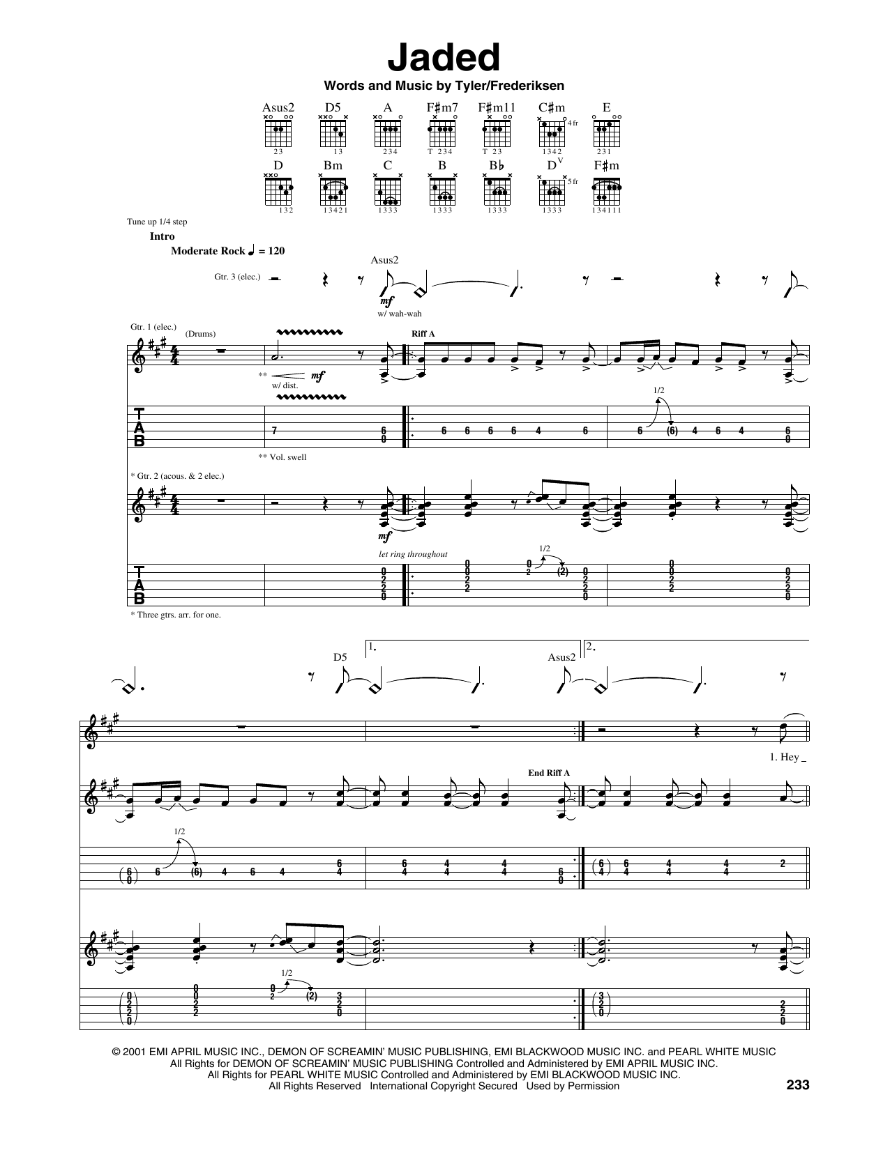 Tablature guitare Jaded de Aerosmith - Tablature Guitare