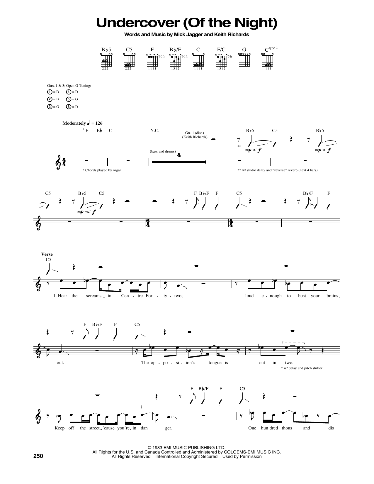 Undercover (Of The Night) Sheet Music