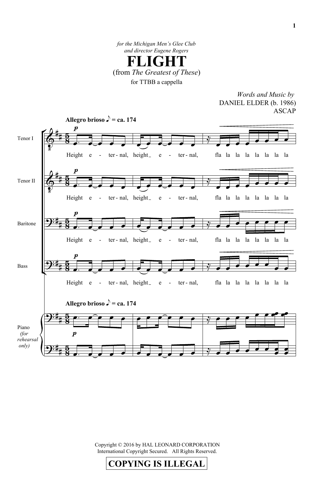 Partition chorale Flight de Daniel Elder - TTBB
