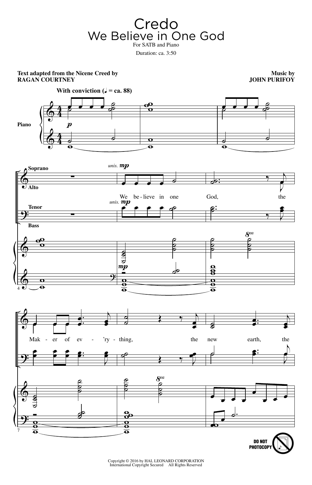 Partition chorale Credo (We Believe In One God) de John Purifoy - SATB