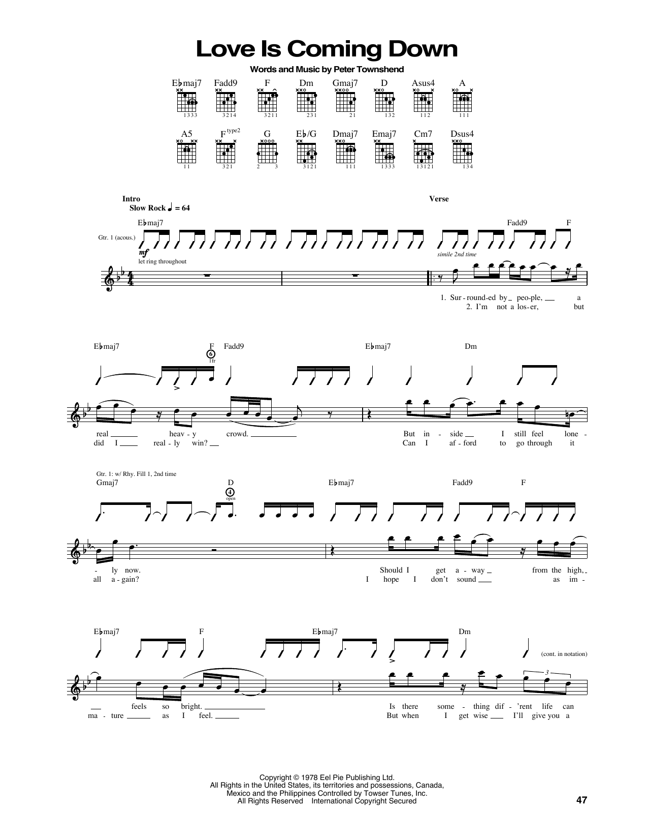 Love Is Coming Down Sheet Music