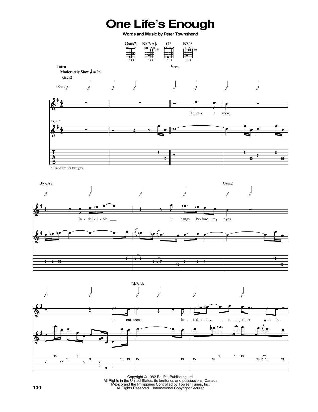 One Life's Enough Sheet Music