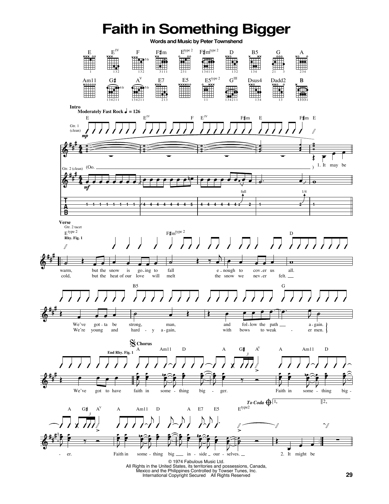 Faith In Something Bigger (Guitar Tab)