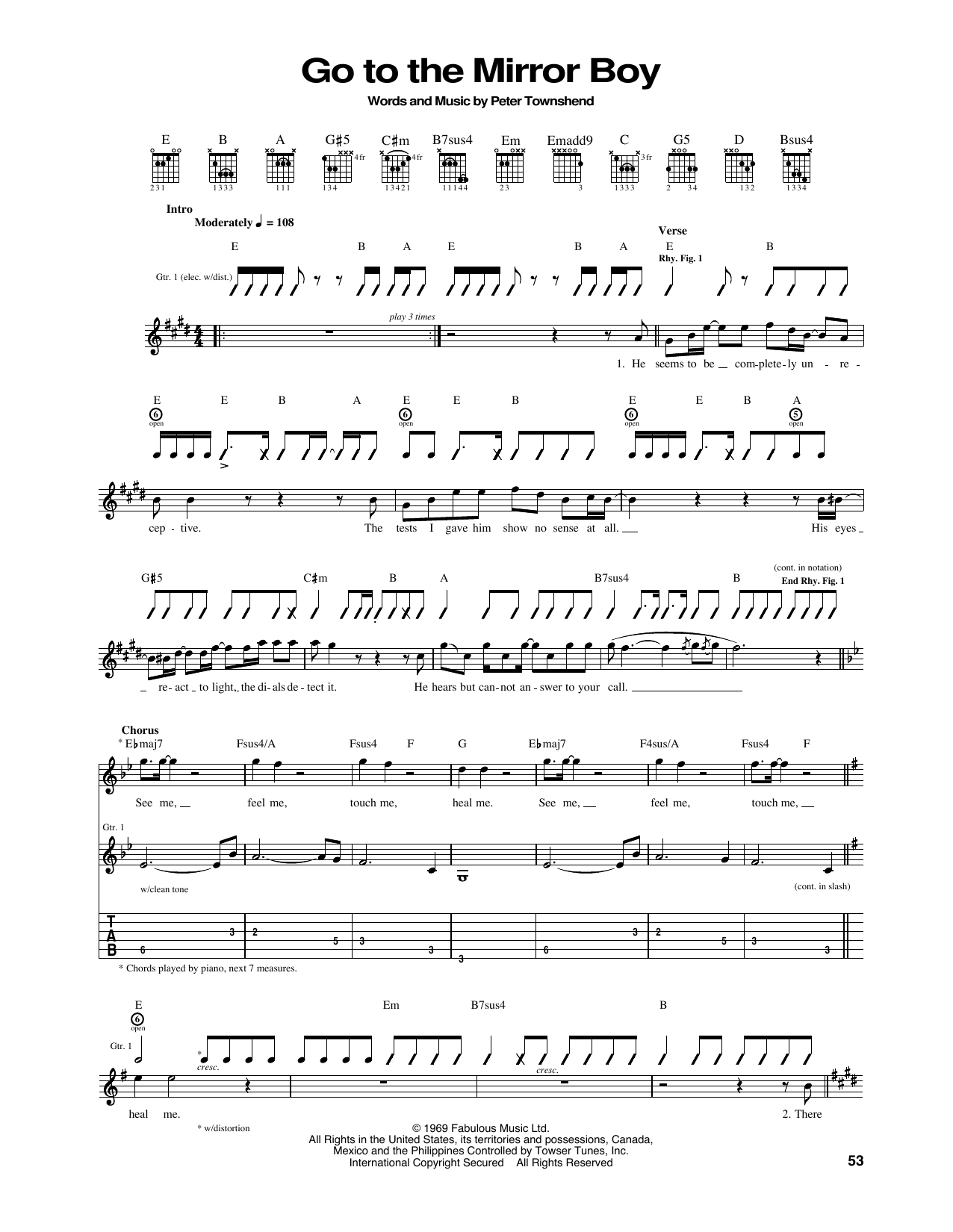 Go To The Mirror Boy Sheet Music