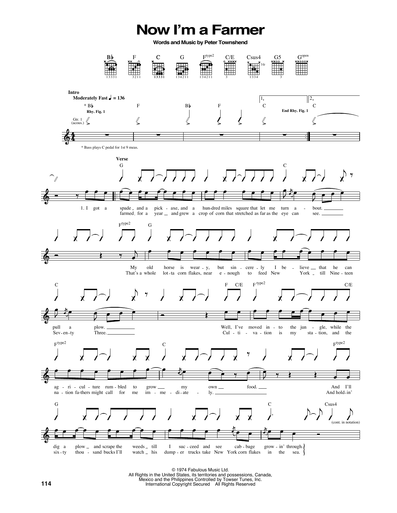 Now I'm A Farmer Sheet Music